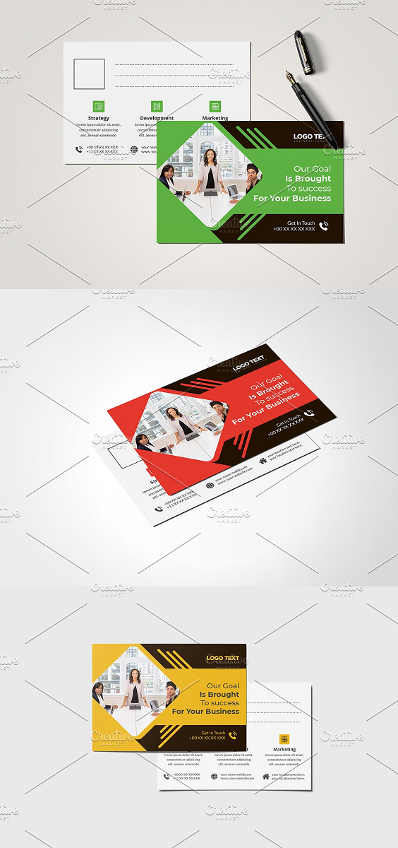 Corporate Professional Business Postcard Design 3 Color Version Volume: 10 Full Vector : Eps. Pdf and Ai. file include Easy Customization and Editable Size: (4×6).with Bleed 0.125 inch 300 DPI resolution Working Software Version : CS6 Version. Software support version : CS4, CS5,CS6, CC+ Version. Font FREE download link: include on help file
