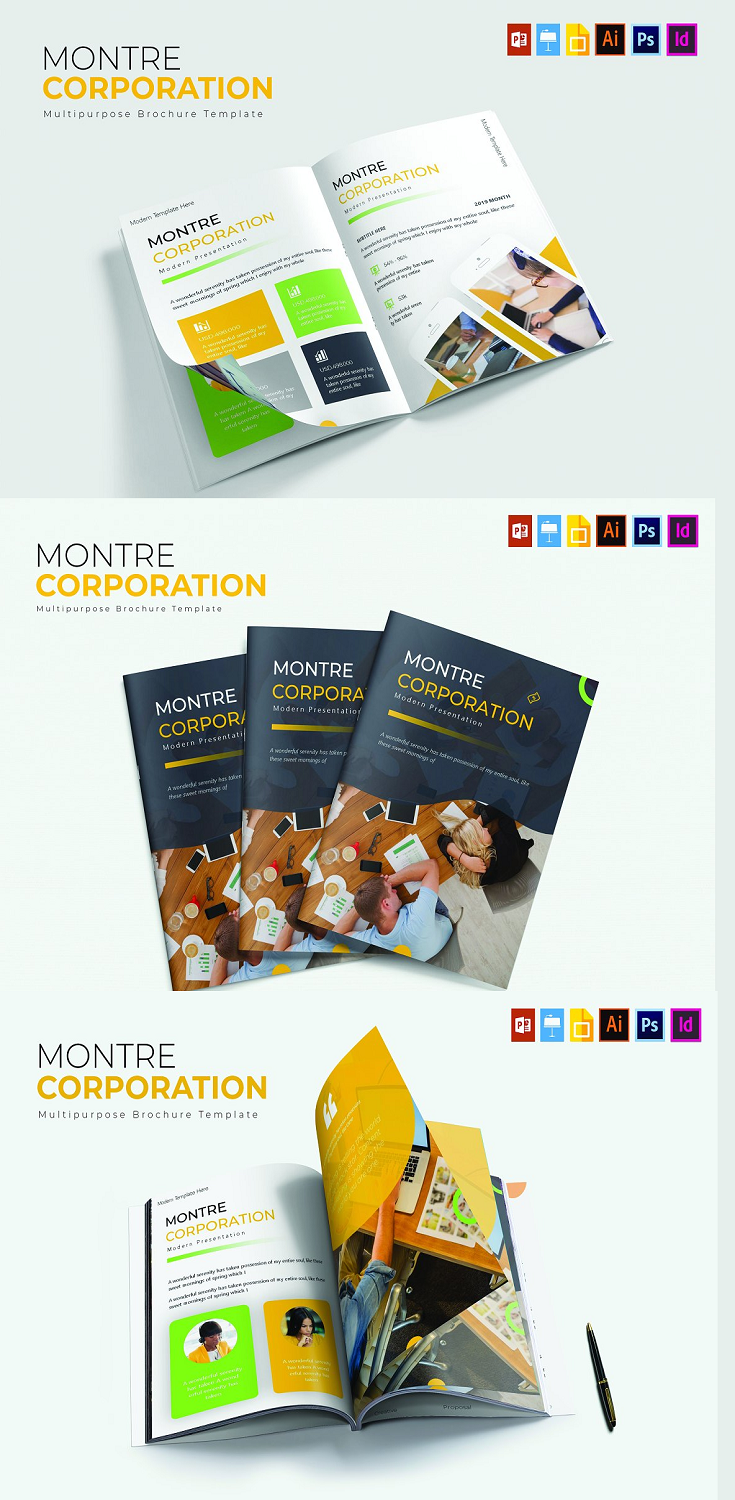 This is Montre Corporation | Brochure Template- Get it now!, great Brochure template for All business and personal needs. All elements on this template are editable from a many tools, you can editing on Indesign, Photoshop, and Adobe Illustrator, and this template have special feature you can also edit on Powerpoint, Keynote, and Google Slides input your content, replace your image into placeholder, change the color, and , all template include an proffesional layouting and present your template to the world, Cheers..... :)
