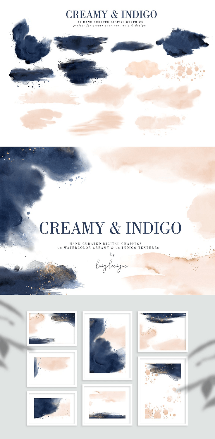 Creamy & Indigo textures with Gold Backgrounds Stunning collection! In this set you will find a lot of compositions, elements gold backgrounds