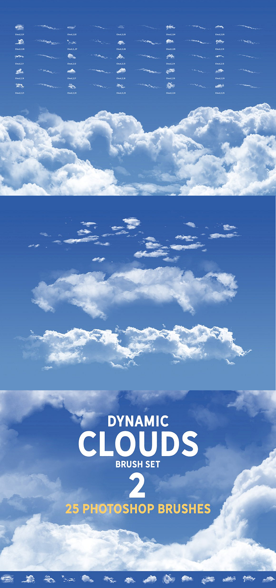 Dynamic clouds brush set 2 25 unique, photo based hi-res Photoshop brushes. This set contains few complex cloud structures, edges only with rim lights, and soft cloud variations. Not only Stamp overlays, you can actually paint with them. Ideal for sketches, good base for illustrations, concept art, matte painting.