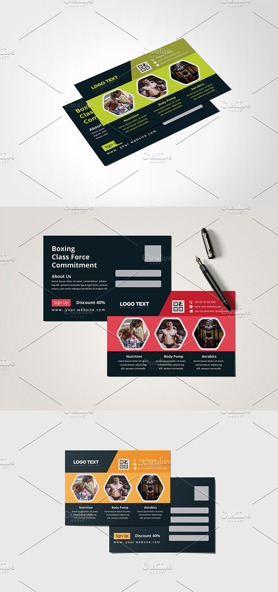 Fitness Post Card Template 3 Color Version Volume: 13 Full Vector : Eps. Pdf and Ai. file include Easy Customization and Editable Size: (4×6).with Bleed 0.125 inch 300 DPI resolution Working Software Version : CS6 Version. Software support version : CS4, CS5,CS6, CC+ Version. Font FREE download link: include on help file