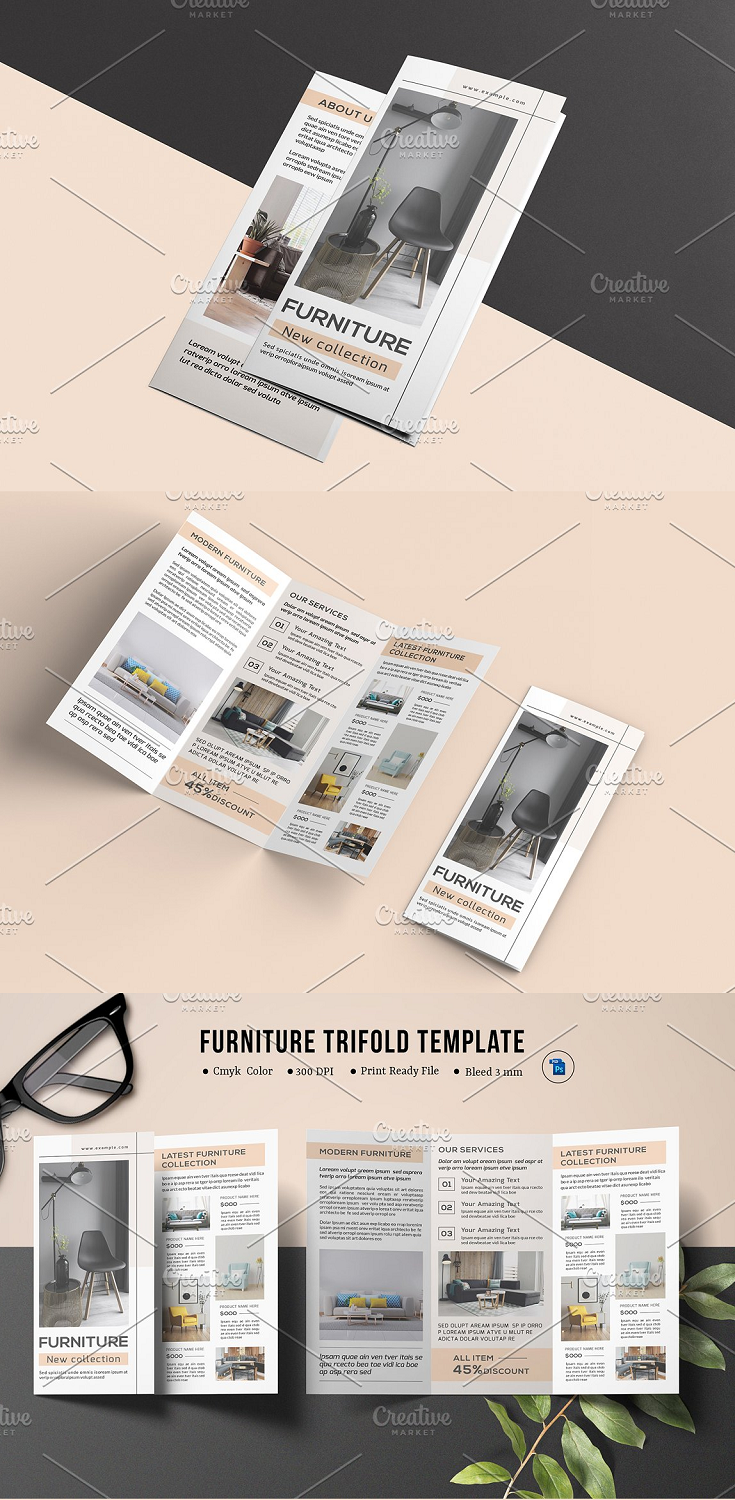 Furniture Trifold Brochure, Interior Design Brochure Interior Brochure Template for interior designer companies. It is made by simple shapes Although looks very professional. Easy to modify, change colors, dimensions, get different combinations to suit the feel of your event.