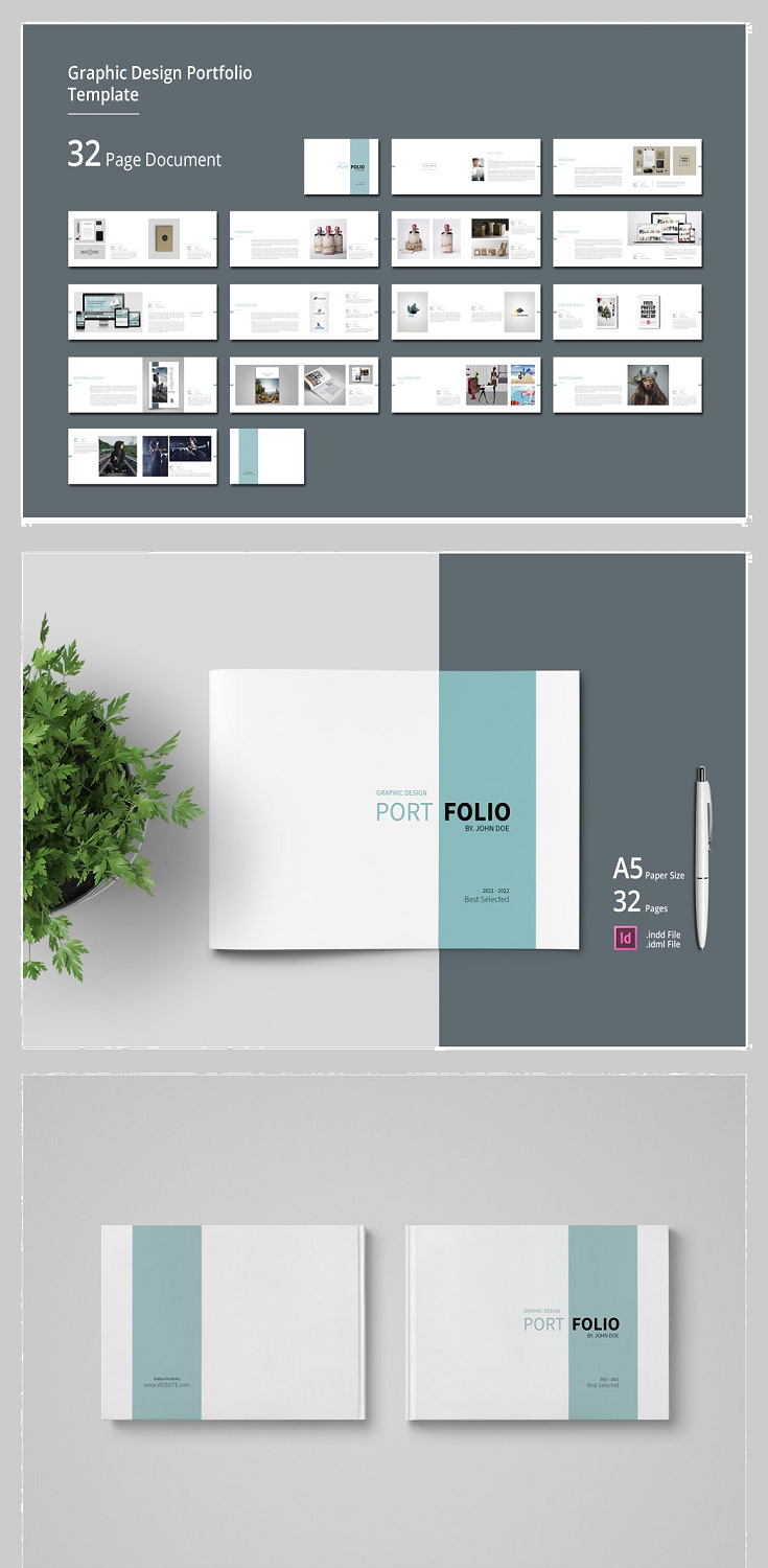 Graphic Design Portfolio Template This is 32 page minimal brochure template is for designers working on product/graphic design portfolios, interior design, catalogues, product catalogues, and agency based projects. Just drop in your own pictures and texts, and it's ready for print.