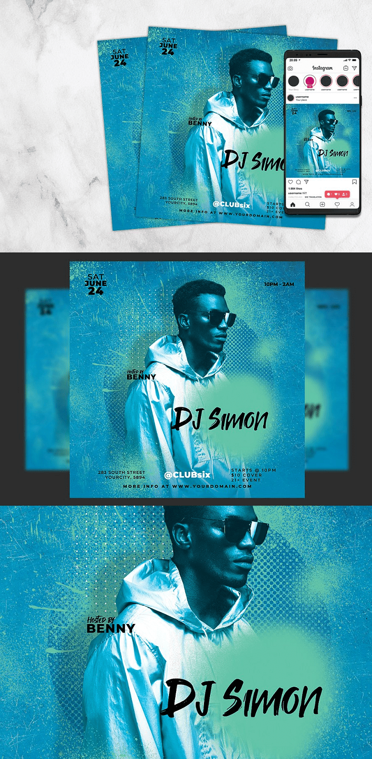 Dj Flyer Template is very modern psd flyer that will be the perfect invitation for your Podcast, Club event or Guest Dj party! All elements are in individual layers and the text is fully editable!