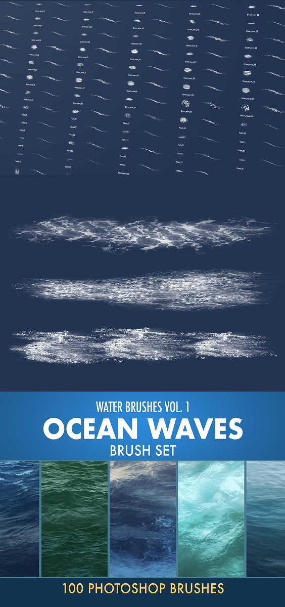 Water brushes Vol.1: Ocean waves brush set 100 unique, photo based Photoshop brushes. Contains different waves, foams, splashes. Not only Stamp overlays, you can actually paint with them. Ideal for sketches, good base for illustrations, concept art, matte painting.