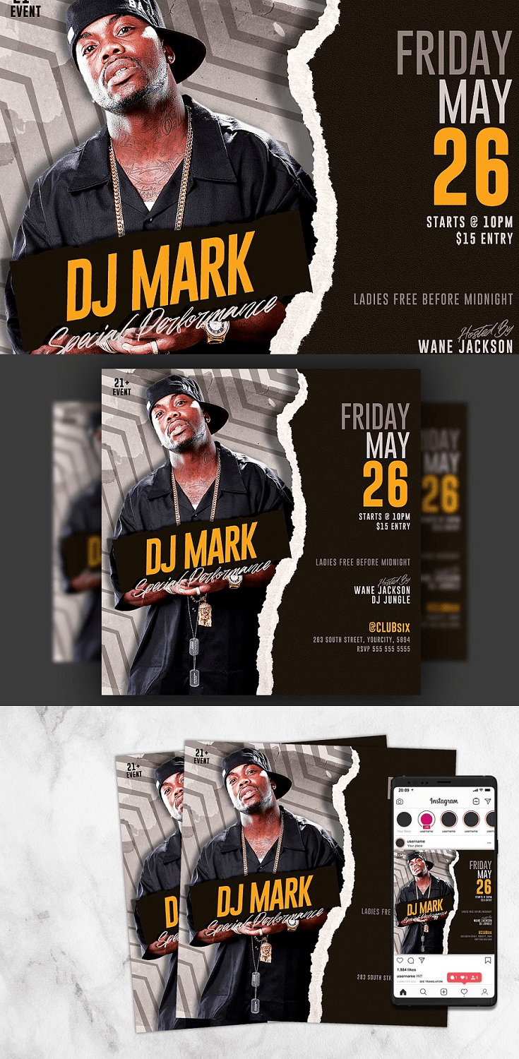 Dj Flyer Template is very modern psd flyer that will be the perfect invitation for your Club event or Guest Dj party! All elements are in individual layers and the text is fully editable!