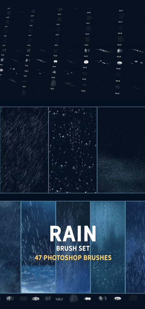 Rain brush set 47 unique, hi-res Photoshop brushes. Not only Stamp overlays, you can actually paint with them. Ideal for sketches, good base for illustrations, concept art, matte painting.