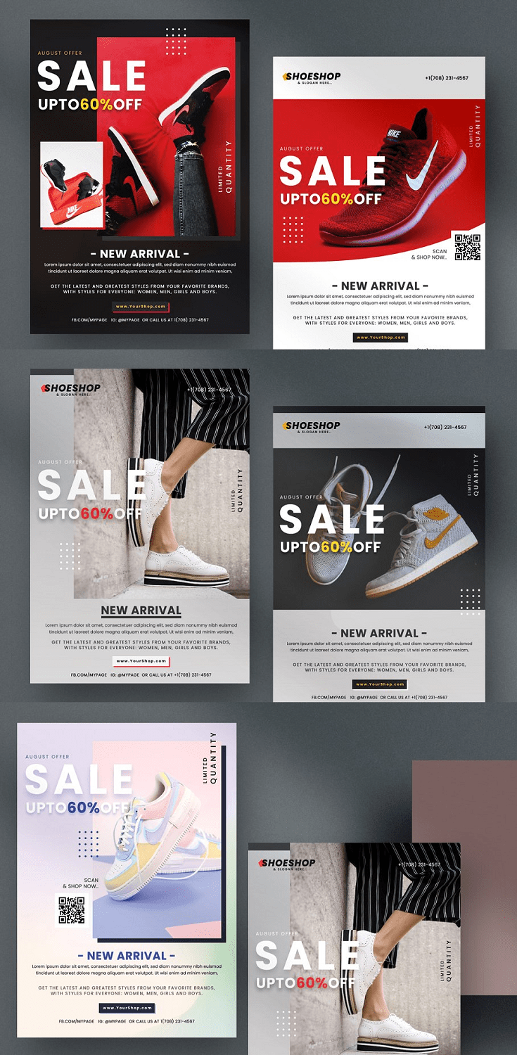 Shoes Sale is a premium flyer template which is suitable for any shop, boutiques or ecommerce business. In this package you will receive 5 psd files with different images & colours.