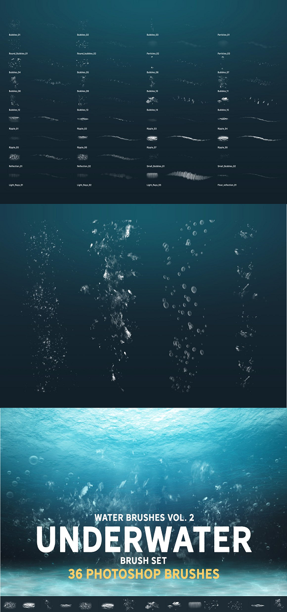 Water brushes Vol. 2: Underwater brush set 36 unique, hi-res Photoshop brushes. Contains different bubbles, underwater ripples, reflections. Not only Stamp overlays, you can actually paint with them. Ideal for sketches, good base for illustrations, concept art, matte painting.