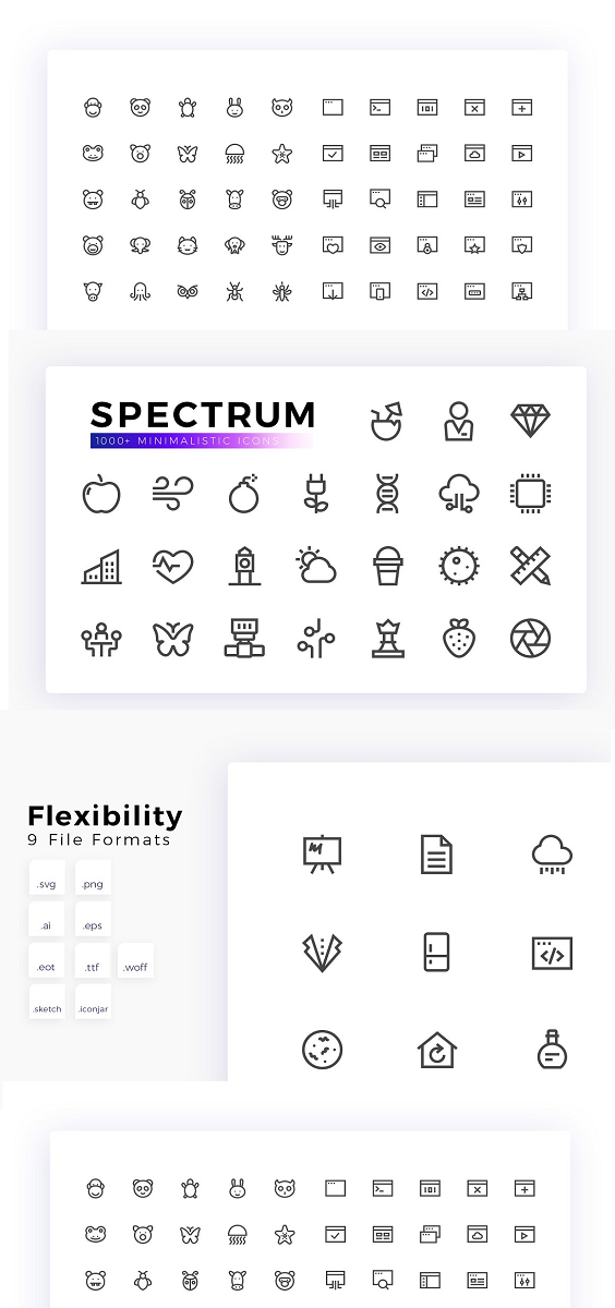 Spectrum Line Icons is a modern set of 1000+ vector icons. 40 Neatly organized icon categories of high quality and pixel-perfect icons designed to look crisp and detailed even at small sizes. Each icon is available in 3 styles and seven file formats to cover your needs. Tagged and searchable icons for the Iconjar application, so you can find the right icon in seconds. 1000+ Minimalist Icons Bundle Features: Pixel perfect icons worked on a precise grid system (30px & 32px) 3 styles including vivid and flat Organized icons in separate categories and file types Various file formats including .ai, .eps, .svg, .png, .eot, .ttf, .woff, .sketch, .iconjar Grouped Illustrator Ai files and Ai files containing artboards Eps10 vector files for each category Individual SVG files for each icon Individual Png files for each icon Icon fonts with reference Tagged and searchable icons for Iconjar Adjustable line width ↓ What's included? 1000 line vector icons in three styles 40 Icon categories 80 grouped Illustrator Ai files 80 Illustrator Ai artboard files (CS6+) 80 Vector Eps10 files Individual .svg files for each icon (vivid, flat, grey color) 30px grid: 30x30px, 60x60px, 120x120px, 240x240px Png 32px grid: 32x32px, 64x64px, 128x128px, 256x256px Png 40 Eot font files 40 Ttf font files 40 Woff font files 80 Sketch files (OSX) 2 Iconjar files (OSX)