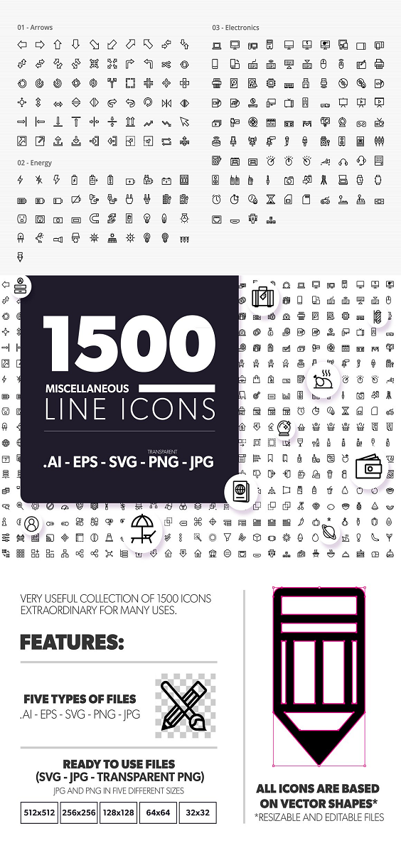 Very useful collection of 1500 icons, extraordinary for many uses. Features: All Icons are based on vector shapes (resizable and editable files). 31 Different icon categories: -01- arrows (60 icons) -02- energy (41 icons) -03- electronics (94 icons) -04- phone and messages (35 icons) -05- files and documents (120 icons) -06- email (23 icons) -07- birthday (11 icons) -08- economy (117 icons) -09- web (150 icons) -10- school (40 icons) -11- hospital and pharmacy (35 icons) -12- tools (41 icons) -13- weapons (14 icons) -14- weather (30 icons) -15- food and drinks (94 icons) -16- humans (32 icons) -17- house (99 icons) -18- clothes (47 icons) -19- transportation (40 icons) -20- constructions (16 icons) -21- water (12 icons) -22- sports and games (57 icons) -23- media (29 icons) -24- personal care (29 icons) -25- fauna (24 icons) -26- miscellaneous (142 icons) -27- flora (15 icons) -28- hand gestures (16 icons) -29- sea (13 icons) -30- baby (12 icons) -31- shipping and delivery (12 icons) Five types of files: .AI EPS SVG PNG JPG Ready to Use Files jpg files.