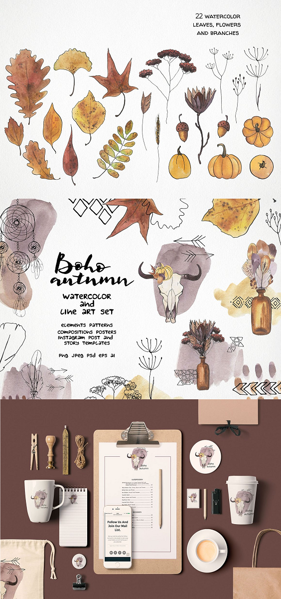 Boho autumn is a collection of high-quality hand-drawn watercolor and line art illustrations of autumn leaves, flowers, and branches, boho elements, dreamcatchers and feathers, abstract shapes, abstract lines. Create your own unique design mixing the different elements or play around with the pre-made seamless patterns and compositions. The pack includes: Leaves: oak, aspen, maple, mountain ash, Ginko, ash, beech, birch, poplar, willow, elm, sassafras Dried flowers: protea, yarrow, field dried flowers, tansy, wheat, spikelet Plants: acorn, pumpkin, twig, branch, Boho elements: feather, dream catcher, cow skull, arrow, bottle, sun, mountains, mirror Line art elements: pattern, ornament, borders, triangle, rhombus, tracery, bead, 63 watercolor elements (4 files with all elements ~ 12500x6500 px), PNG and JPEG 53 line art vector elements (2 files with all elements ~ 12500x6500 px), AI, EPS, PNG, and JPEG