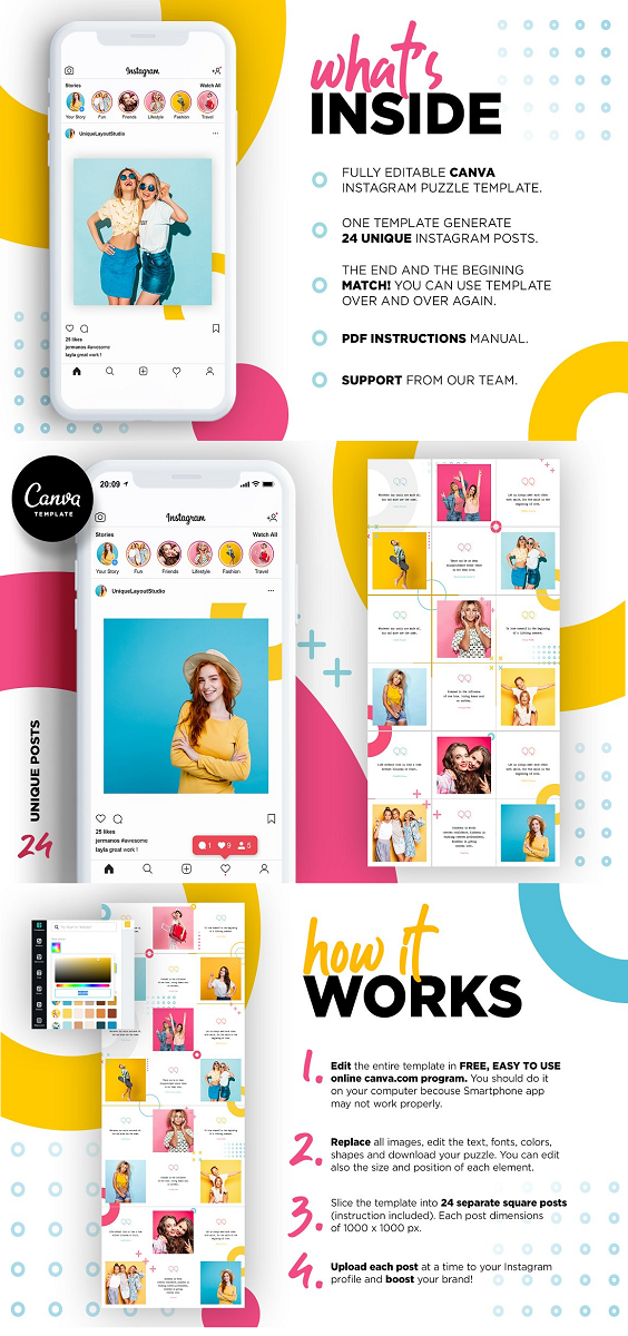 Instagram is well-known for being a great platform to get your brand in front of your followers. This photo collage Canva template feed preset will ensure that you can present blogger or brand in a really professional way that will engage your audience by unique layout. You can easily plan your posts content weeks in advance with this fully editable puzzle template and make your feed look amazing. Use your best photos and make them look even better! Make it your own branding theme! FEATURES: 24 posts Instagram Puzzle Template User-friendly Drag and Drop interface create content weeks in advance change images, text, colors, fonts and background can be used over and over again free up time spent on social media fonts used are free for personal & commercial use beginning and end match help notes to get you started no Photoshop required