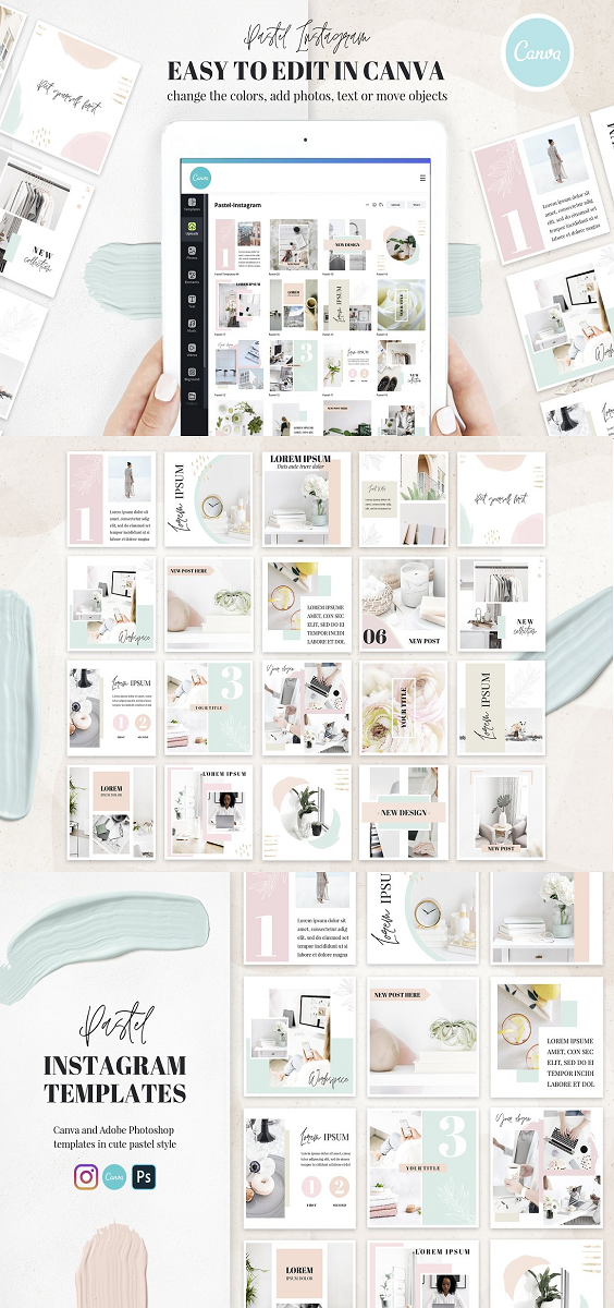Canva Instagram Templates Pastel This pack is beautiful, light and minimalistic. It's perfect for feminine Instagram accounts. Just change the text and photos when needed and you are ready to go! You can use this pack either in Adobe Photoshop and Photoshop Elements. Or in the online editor Canva.com What's inside: 20 Instagram templates in .PSD files and links to templates for Canva. The colors and elements are changeable.