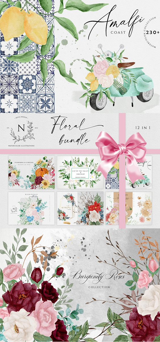 Included 12 Floral Collections / 1500+ Graphic Elements: (png format with transparent backgrounds, hi-res 300 DPI) SAVE 85%! This bundle includes Floral Bouquets, Arrangements, Illustrations, Patterns, Wreaths, Frames, Crystal Gold Frames, Gold Alphabet, Floral Alphabet, and much more. This Floral Bundle is perfect for your posters, wall art, scrapbooks, albums, greeting cards, stickers, creations stunning wedding invitations, mood boards, social media accounts promotion (Instagram, Pinterest, blog), Etsy, branding identity, packaging, wall art and more.