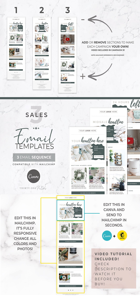 Mailchimp & Canva Template 3 Pack YOU WILL GET 3 TEMPLATES: ► 3 Mailchimp template links with one click install. Sequence includes: ► Initial Email ► Mid Campaign Bump Email ► 24 Hours Left Email ► 3 Canva links with template for main header images in emails. ► Instructions for use and step by step help sheet & video tutorial to show you exactly how its done