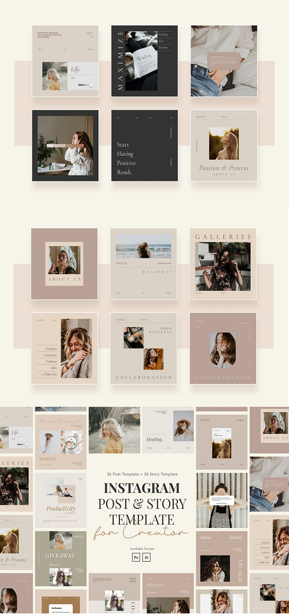 Minimalist Instagram story and post template with a modern theme. This template is ideal for Creator, Writer, Author, Blogger, Influencer, Coach, Inspirator, and more. Make your Instagram promotion looks stunning and eye-catching using this template. This template includes 36 uniques and minimalist Instagram posts and Story templates in PSD and AI format. You can edit and customize easily using Adobe Photoshop and Adobe Illustrator. Highlights: 36 High-quality posts template 36 High-quality story template Support Photoshop and Illustrator Using FREE Font from Google Font Well Documented Easy to edit and customize Using 1080px x 1080px for post (recommended size) Using 1080px x 1920px for story (recommended size) Main Files: 36 PSD screens posts 36 PSD screens story 36 AI screens posts 36 AI screens story PDF Documentation