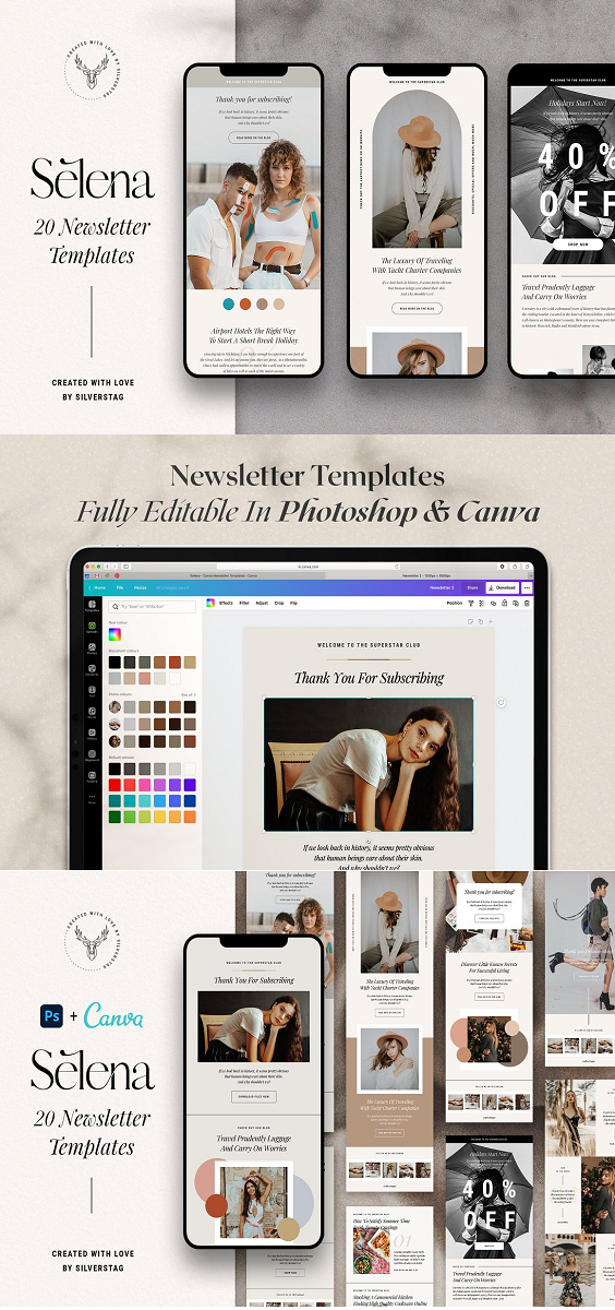 I have created 20 newsletter templates that you can use for any kind of a business and optimize them however you want. All mayor newsletter platforms will allow you to upload these images and have beautifully designed templates in a couple of minutes. Just open the photoshop files, pick the elements you like, export them as photos, upload to the platform you use to send emails like MailChimp, and amaze your clients with a uniquely designed newsletter that works for your business!