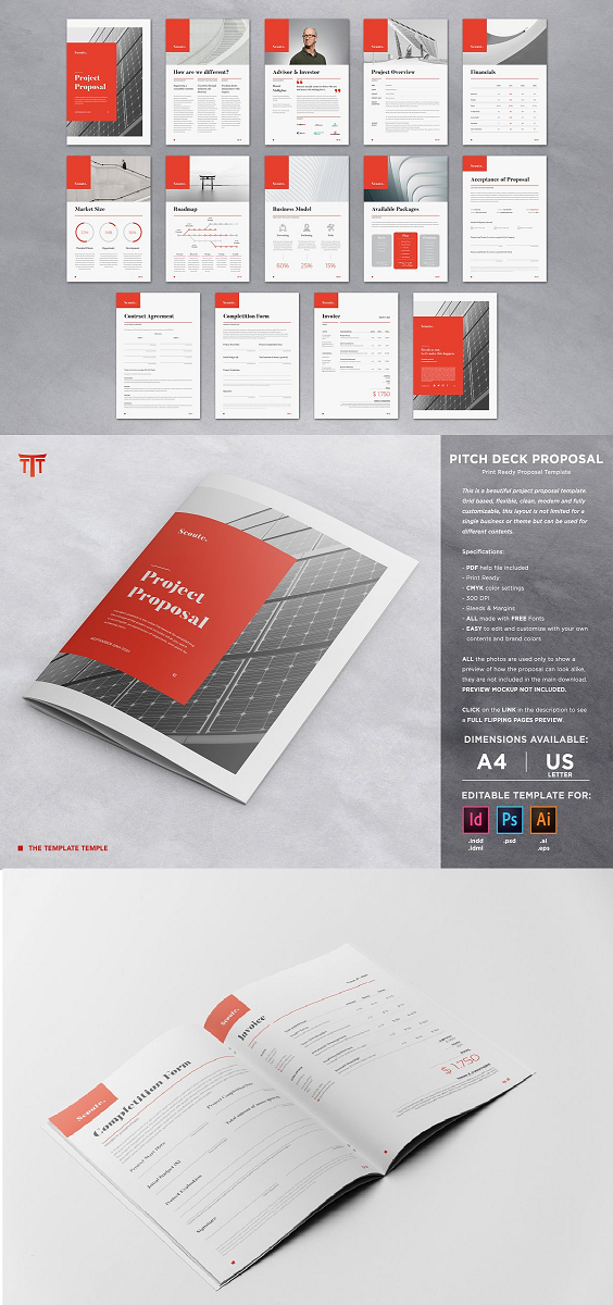Pitch Deck Proposal & Contract Brochure This is a complete and professional Template of 14 pages for a Business Proposal, Contract and Invoice. It will definitely help you visualize in a professional way your business and your proposal to clients. Included are pages for Project Proposal, Acceptance, Project Timeline, Contract, Packages Plan, Completion Form, Invoice. The files are created in order to be used by everyone with just a basic knowledge of 1 out of the 3 Adobe softwares available. The Package include the following files (you only need 1 of them to edit the template): InDesign (.INDD, .IDML) from CS4 up till the latest sw version Photoshop (.PSD) from CS up till the latest sw version Illustrator (.Ai, .EPS) from CS6 up till the latest sw version PDF documentation with FAQ, links to fonts used, advices etc. Dimensions available: A4 ISO 297x210 mm US Letter 11x8,5 inches Other specifications: Print Ready CMYK color settings 300 DPI
