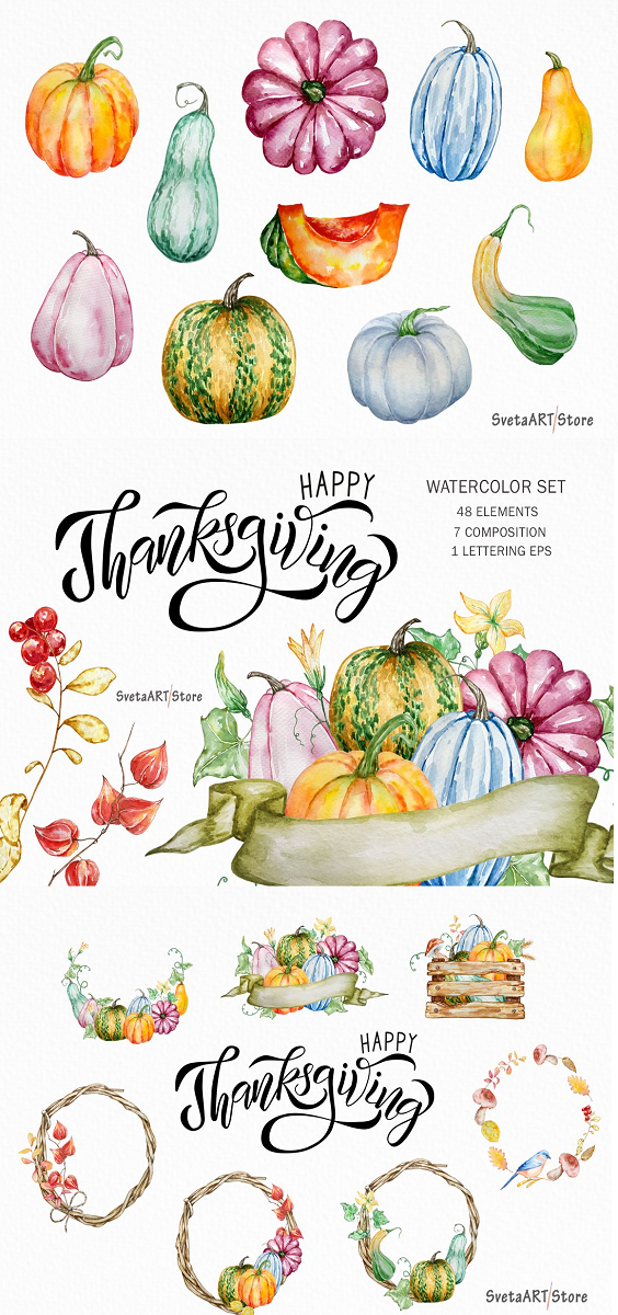 Hand Painted Watercolor Clipart - Autumn pumpkin watercolor clipart: pumpkin, mushrooms, physalis, berries, flowers, box, wreath, leaves, branches and ready-made compositions and hand-drawn lettering. Ideal graphics for greeting cards, photos, posters, quotes and more. This Collection includes: 48 PNG files with separate images 48 JPG files with separate images 7 composition PNG and JPG 1 lettering PNG, JPG and EPS Estimated size: 3000 x 3000 pixels, 10x10 inches, 300 dpi. For any questions, please contact me, I will be happy to help you.
