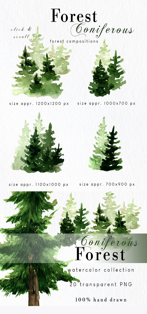 Watercolor forest tree clipart with foggy landscapes, mountains, backgrounds. This set is perfect nature collection for woodland wedding, rustic greeting cards, sublimation designs, mugs, pillows, packaging design, posters, prints, quotes, scrapbooking and many diy projects. WHAT'S INCLUDED: 6 forest watercolor forest compositions (high resolution PNG with transparent background, 600 dpi, sizes look at photos); 11 coniferous trees (high resolution PNG with transparent background, 600 dpi, sizes look at photos); 1 watercolor mountains (high resolution PNG with transparent background, 600 dpi, sizes look at photos);