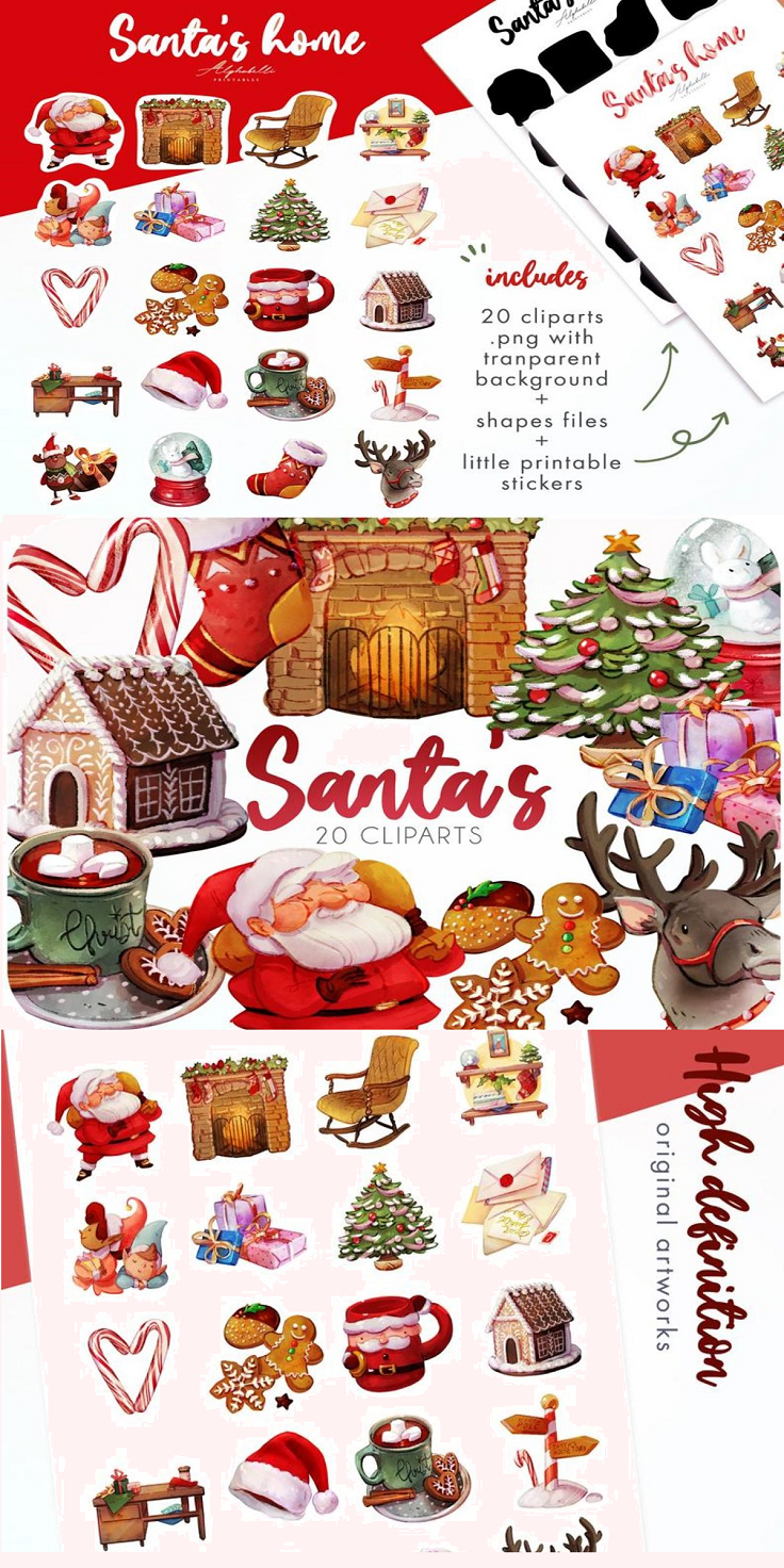 20 Santa's house clipart • Christmas stickers • Xmas clipart for goodnote 💝 This stickers set contains 20 adorable png images themed Christmas in Santa's house, with elves,reindire, fireplace, tree and gifts and hot drinks It contains 20 different little designs, so you can easily print and use them to decorate whatever you prefer for your personal projects If you love kawaii things, pastel and bright colors they'll fit perfectly your planner mood, your diary, bullet journal or any DIY craft project you have in mind. You can use them printed on paper for decoupage or create your own stickers. The download consist of the a A4 page along with png files with the cut trace, in case you have the proper software to cut them.