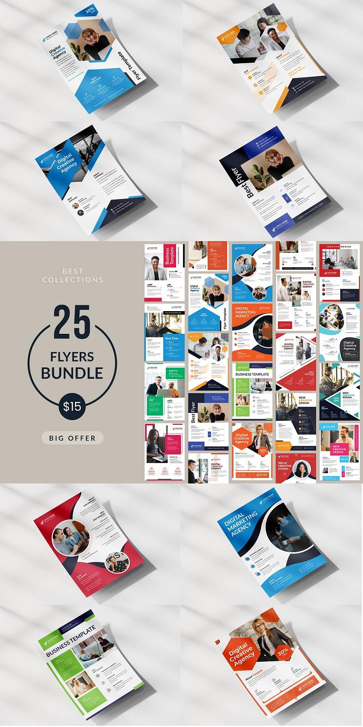 """25 Corporate Flyer Template Bundle This Flyer template is suitable for a creative and corporate agency. I try to make this Flyer template visually appealing and you can use this Flyer for advertising and marketing materials. It's made with Photoshop and easily editable text, logo, color, image, and all layers are properly organized. In this PSD file, totally free and popular font used. Feature: Print Ready CMYK Color 300dpi Fully Editable, Layered High Resolution Adobe Photoshop PSD Format File Included 8.26x11.69 inches (0.25"""" bleed) Easy editable Use google fonts Free Font use Smart object Photos are not included 2 Color Design Files included: 50 PSD Files"""