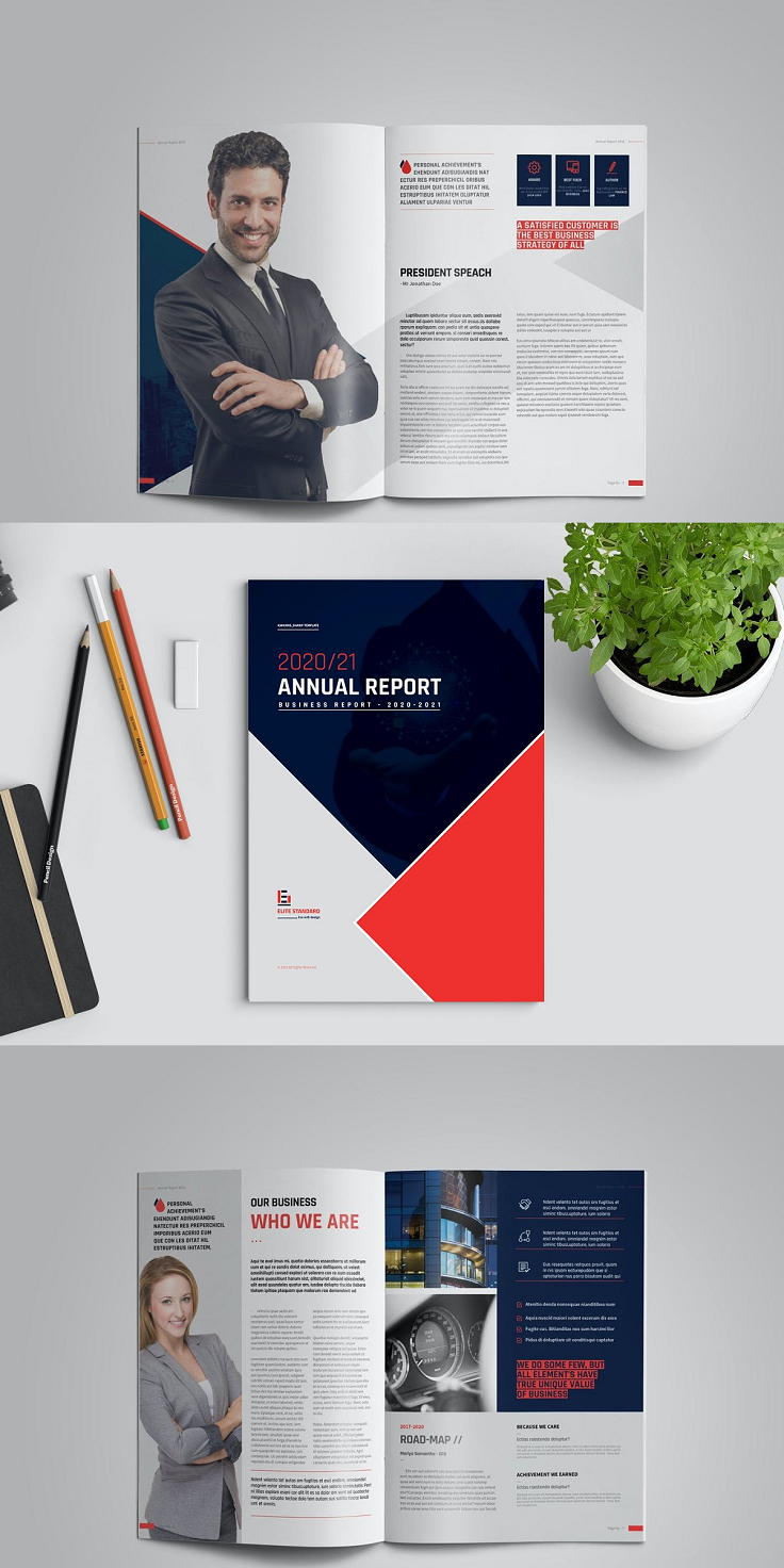 Clean Annual Report Brochure is 32 Pages, Two Different Sizes Din-A4 and US Letter. All units and text are layered to customize easily. Simply add or remove the page as your need. HELP PDF FILE INCLUDED FOR CHANGING IMAGES, TEXT, AND SWATCHES. FEATURES: Easy Customization and Editable A4 (8.2×11.7) and US Letter (8.5×11) Size with 3mm bleed 32 Complete pages with Master pages Paragraph Style, Character style included Images, text, Objects are Different Layers Design in 300 DPI Resolution In Design files Auto page numbering Working file adobe cc Adobe In-Design CC, CS6, CS5, CS4 or Earlier software version supported FILES INCLUDED: INDD,IDML files Help PDF File FREE FONT USED : Source Sans pro Rajdhani