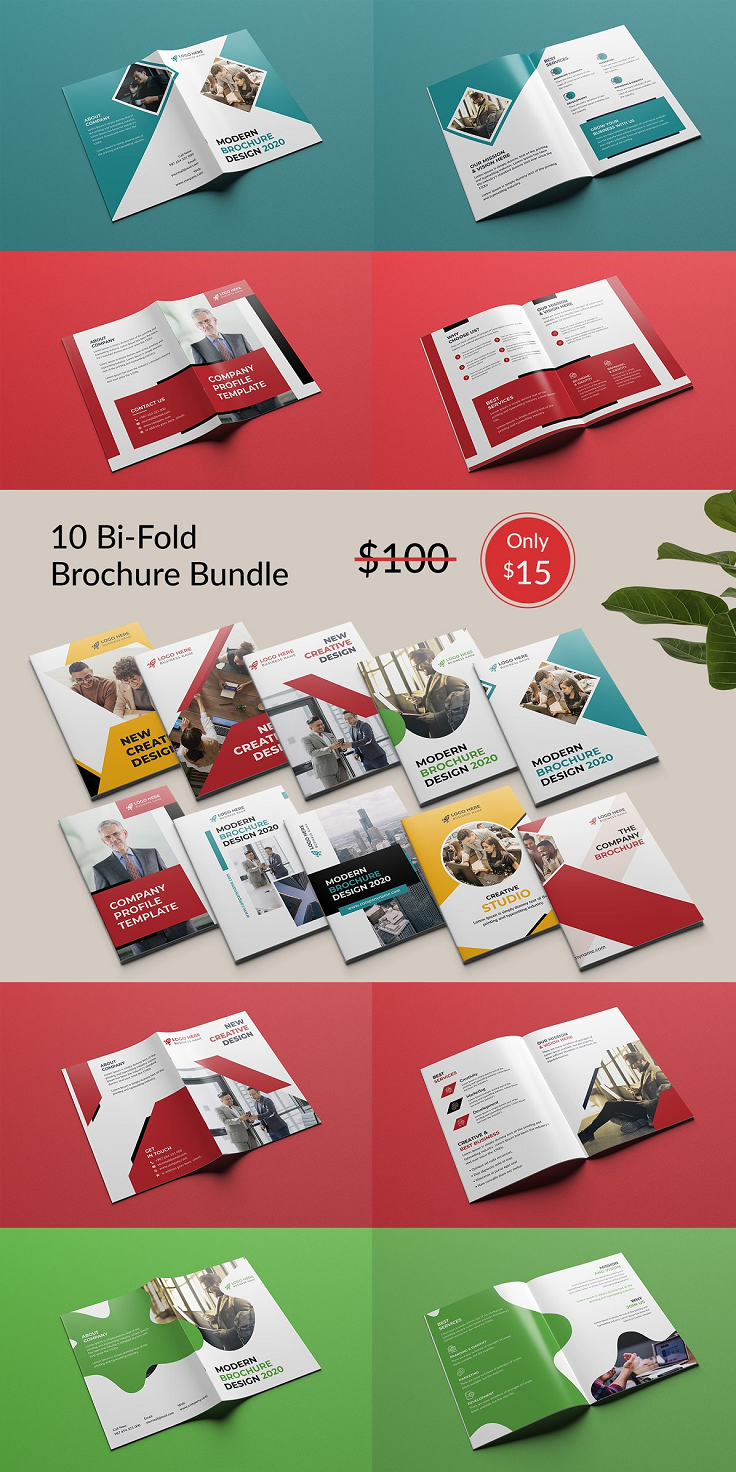"10 Corporate Bi-fold Brochure Bundle This Brochure template is suitable for a creative and corporate agency. I try to make this brochure template visually appealing and you can use this Brochure for advertising and marketing materials. It's made with Photoshop and easily editable text, logo, color, image, and all layers are properly organized. In this PSD file, totally free and popular font used. Feature: Print Ready CMYK Color 300dpi Fully Editable, Layered High Resolution Adobe Photoshop PSD Format File Included 8.26x11.69 inches (0.25"" bleed) Easy editable Use google fonts Free Font use Smart object Photos are not included. Files included: 20 PSD Files 1 Information File 1 Read Me File Font link included in the main file."