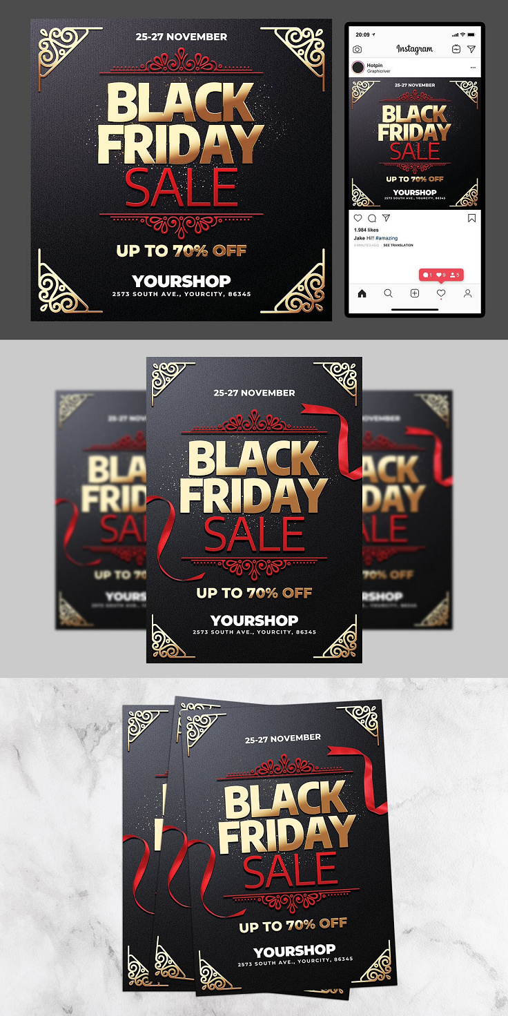 """Black Friday Sale Flyer and Instagram post is very modern psd flyer that will give the perfect promotion for your Sales and offers! All elements are in individual layers and the text is fully editable! 1 PSD file - A4 (8.3""""x11.7""""), 5""""x7"""" with 0.25"""" bleed + 1080x1080 Rgb Social Media Ready Clearly labelled folders and layers CMYK – 300dpi - Ready to print with guides Fonts used: Encode Sans"""