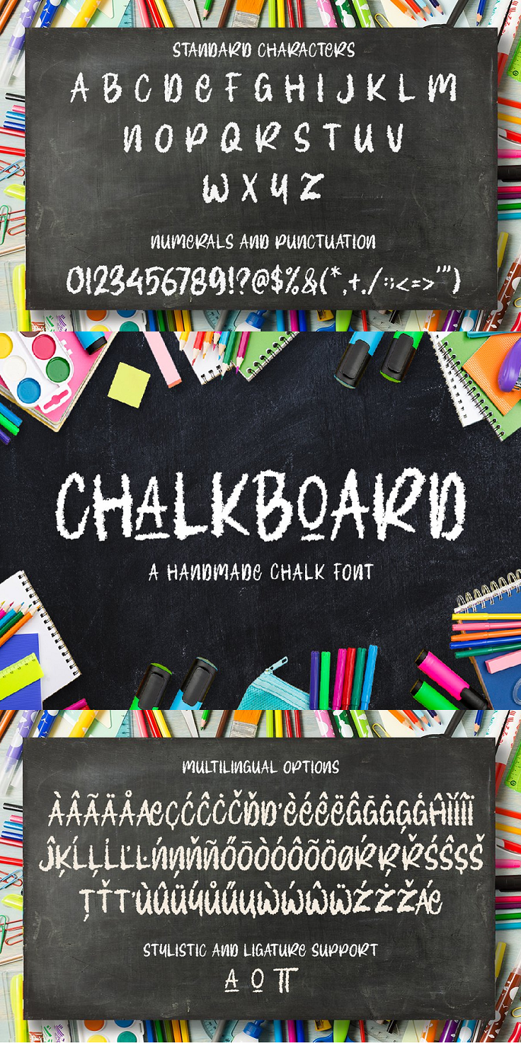 Introducing Chalkboard - A Handmade Chalk Font If you're hosting a halloween, birthday or costume party, or need a versatile font for printed materials - then Chalkboard is exactly what you need! This bold, fun, and stylish font can be used for a host of different content needs and projects. Create gorgeous party invitations, printed quotes, standout packaging, or beautiful t-shirts! You can even use it to create amazing headings, logos, menus, and social media graphics. Chalkboard includes multilingual options, as well as stylistic and ligature support. Inspire your audience, clients, or guests with this beautiful, statement font. What you'll get: Chalkboard.otf Chalkboard.ttf Multilingual, Stylistic & Ligature Support Full sets of Punctuation and Numerals Compatible with: Adobe Suite Microsoft Office KeyNote Pages