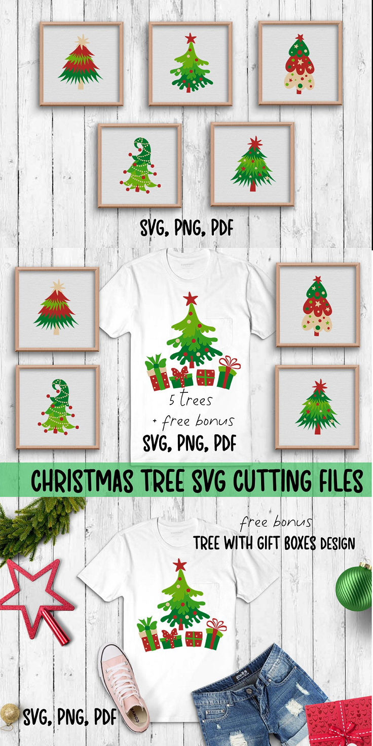 Decorated pine tree is probably the main symbol of Christmas all over the world. It is associated with cozy warm family evenings, a lot of fun and peculiar Christmas aesthetics. Under the Christmas tree kids found Christmas gifts. Christmas tree is the symbol of happy family Christmas Eve time from my childhood. This set of cute Christmas trees is great for t-shirts, mugs, stickers, wall or window decorations, posters or any other your creative ideas. It is suitable for cutting machines and Cricut or Silhouette Studio software. The elements of the same color are grouped for your convenience. The Christmas trees bundle includes 5 Christmas trees designs and one bonus composition with Pine tree and gift boxes. Each design is represented by svg, png, and pdf files. Totally you will get 6 svg 6 png 6 pdf files.