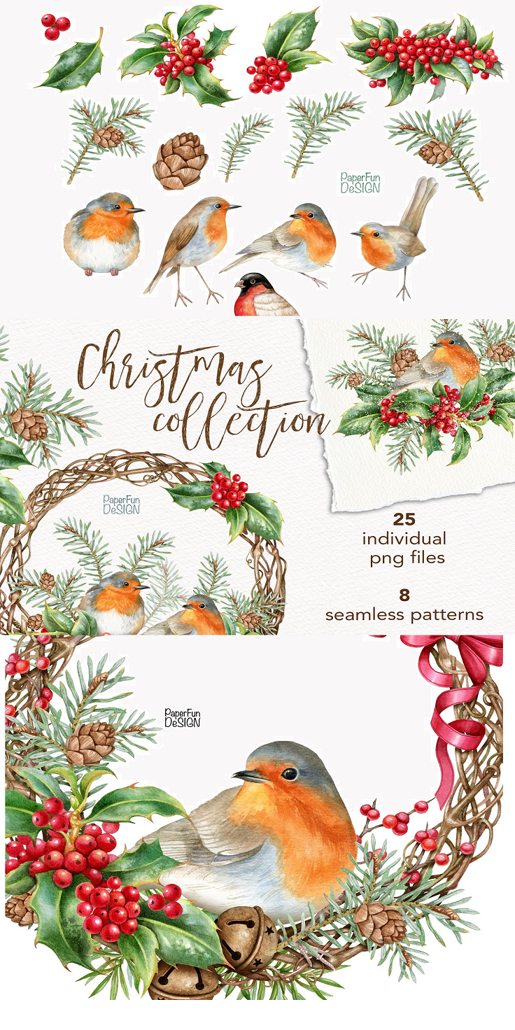 Watercolor Christmas clipart collection. Winter Robin birds, Holly leaves and berries, pine cone clip art. Sublimation holiday designs, printable PNG. After purchasing you will be able to download 25 PNG files and 8 JPEG files. Cliparts size: 3600px (12'') on its longest side and smaller. 25 PNG format at 300 dpi 8 JPEG format at 300 dpi (seamless patterns)