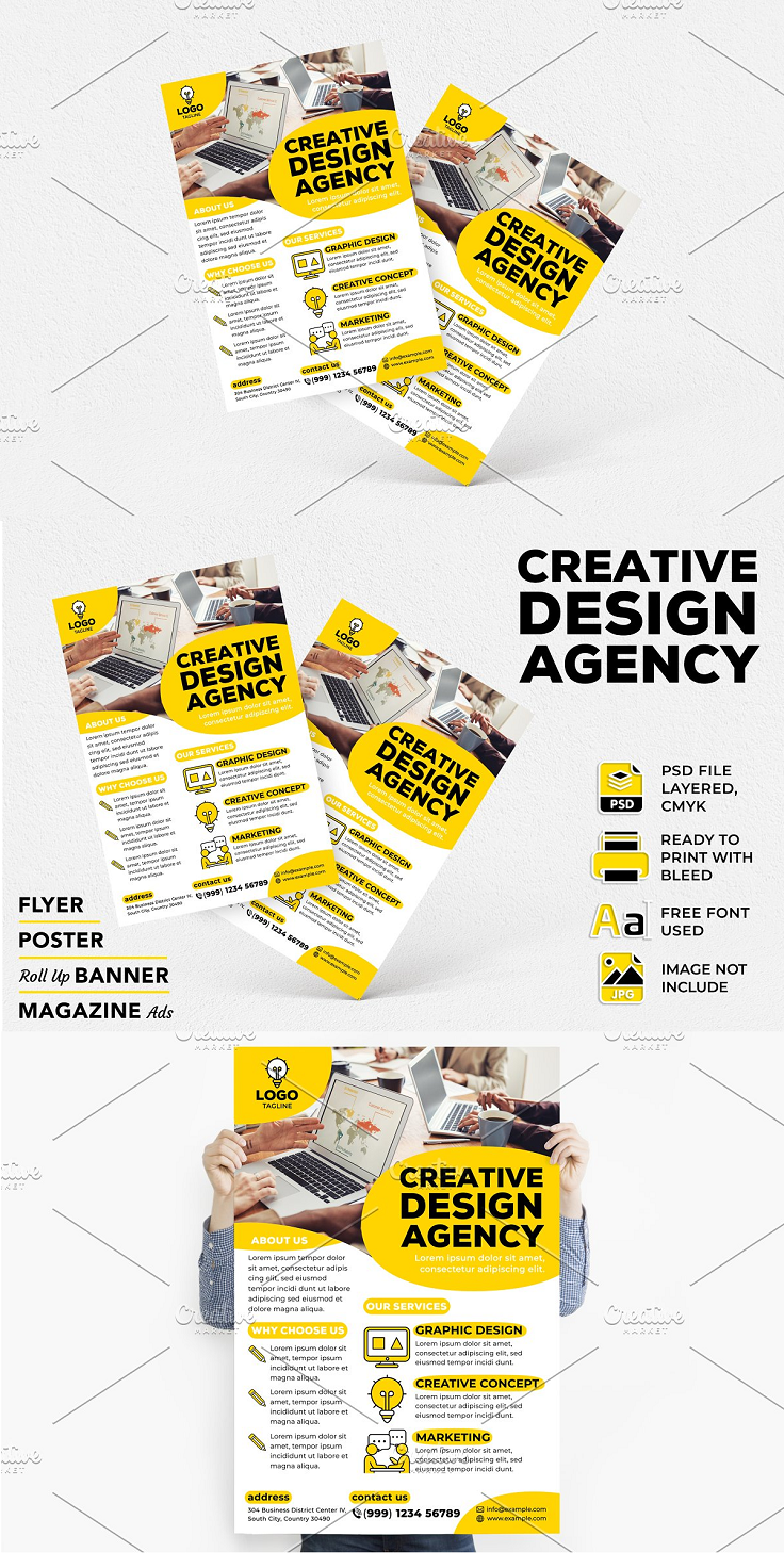Creative Design Agency Print Templates for your medical business promotion. This commercial sale templates customized designed with set of 4 templates: Poster, Flyer, Roll Up Banner, and Ads Magazine. This templates template is easy to use and customize, it will helps your business! FEATURES: Modern design High Quality Easy to edit and customize Ready to Print Image Not Include INCLUDES: 4 PSD file (Poster, Flyer, Ads Magazine, Roll Up Banner) Poster Size 40 x 60 cm Flyer Size 16 x 24 cm Roll Up Banner Size 30 x 70 inch Ads Magazine 21 x 30 cm All files color CMYK Smart Object and Bleed 0,5 cm Resolution 300 DPI FONT USED: Montserrat