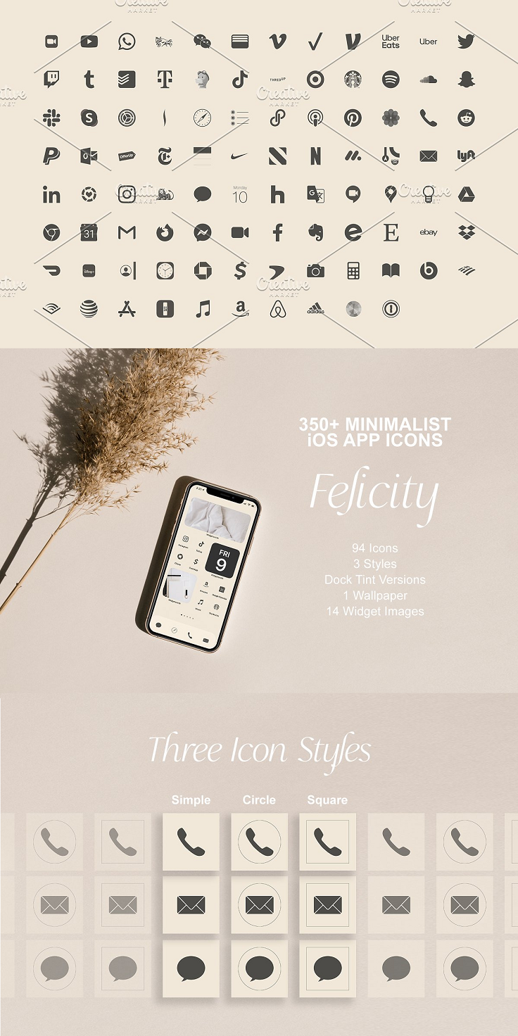 Let's talk minimalistic aesthetic with the Felicity Icon Set. Customize your phone screens today with this clean, soft, and eye-catching set of over 350 app icons. The FELICITY iOS 14 APP ICON SET includes: 391 High-Res Files in total (jpgs) 94 Icons 3 Styles (Simple, Circle, Square) A custom tinted version of app icon set for your dock 1 Tailored Wallpaper 14 Curated Royalty Free Images for widgets Installation Instructions