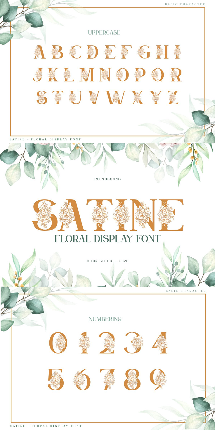Satine is a beautiful decorative font, featuring elegant flowers. Get inspired by its authentic feel and use it to create gorgeous wedding invitations, lovely stationary art, eye-catching social media posts, and cute greeting cards. File Included : OTF TTF WOFF