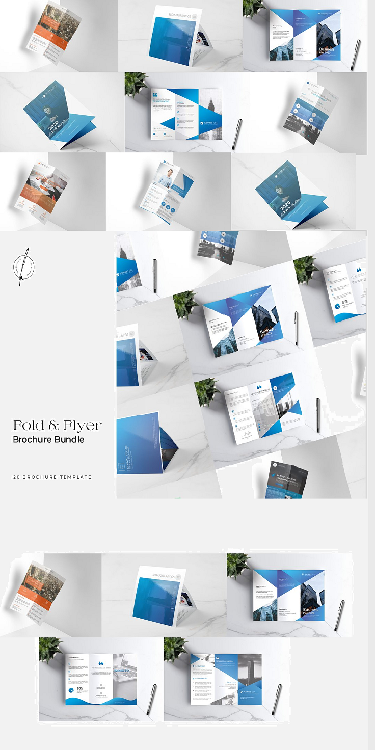 20 Awesome Fold & Flyer Brochure Templates Bundle Clean, modern, minimal, and creative Brochure Template Bundle with International size A4 & Square 8x8 Printable Format. This awesome bundle gives you many possibilities for creativity. Easy to work, edit drop Images in shape. Easy to use for Adobe Photoshop all tutorials available on PDF on the main file and all font links included in the main files. Requirements : Adobe Photoshop CS & CC A4 & 8in size print templates 20 Print Ready Templates Layered Photoshop Vector Help File