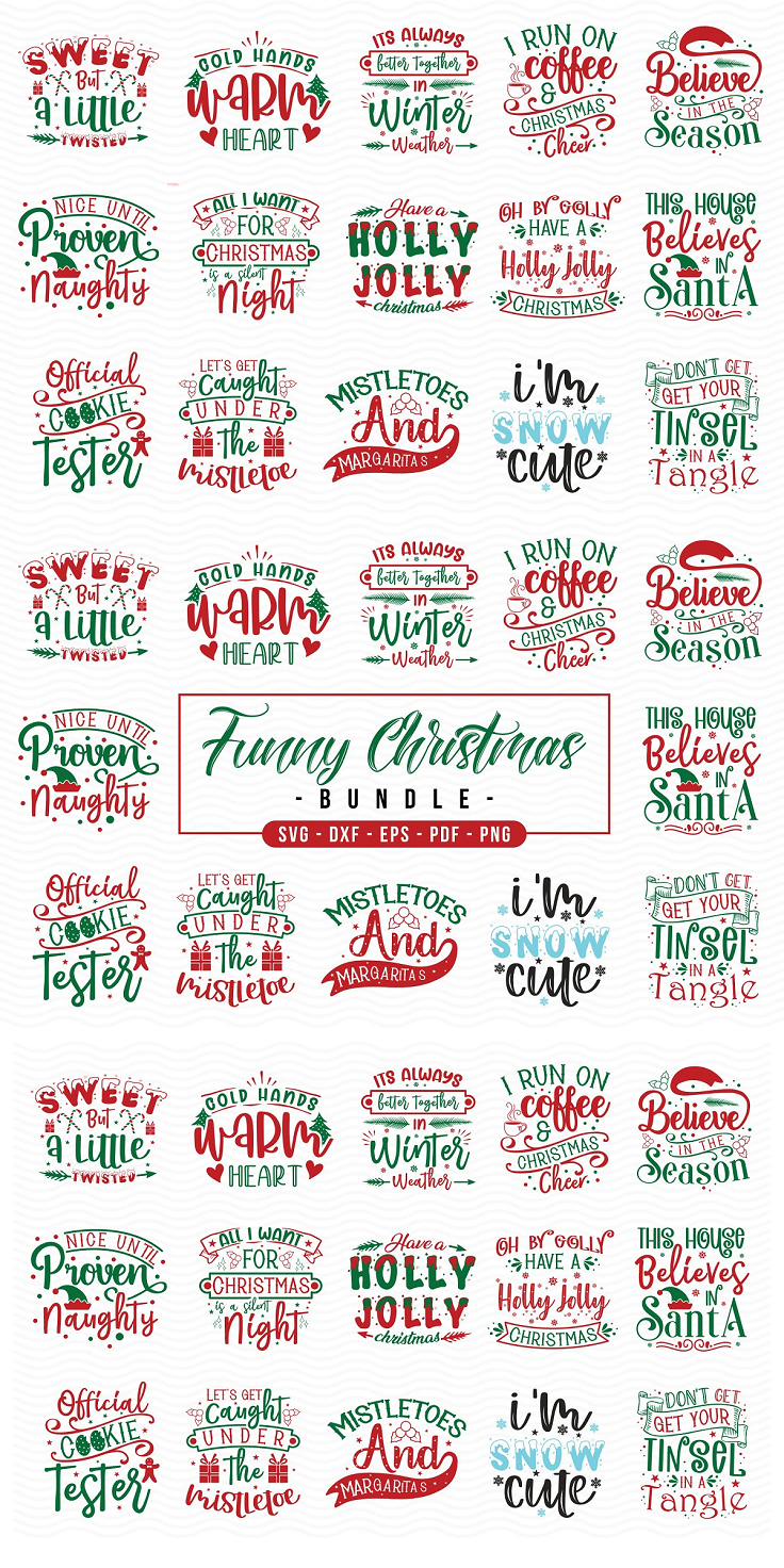 Funny Christmas SVG Bundle, 12 Funny Christmas Quotes SVG The designs can be used for many purposes such as but not limited to: t shirt designs, sign making, card making, scrapbooking, vinyl decals and many more… These designs come in the following formats: 12 SVG Files 12 DXF Files 12 PNG Files(Transparent) 12 PDF Files 12 EPS Files These files are compatible with all major cutting machines like Cricut, Silhouette Cameo, ScanNCut and other cutting machines.