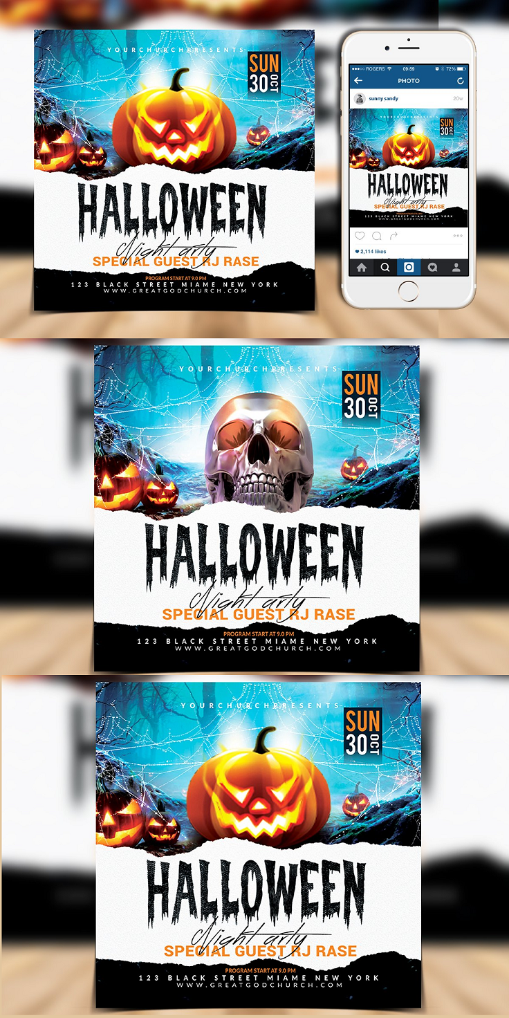"""Halloween Night Party Flyer = Photoshop Psd File = Fully Layered = Easy Customizable and Editable = CMYK Color = Size 4.25x4.25"""" (.25"""" Bleeds) = 300 DPI Hight Resolution = Print Ready Format Free Font Used"""