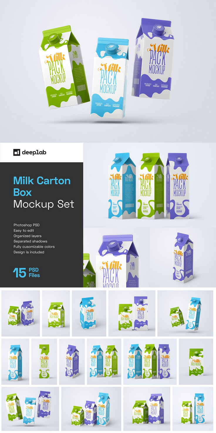Trendy, modern, and fully editable Milk Carton Box Mockup Set with 15 scenes, 4k backgrounds & trendy packaging design. This mockup bundle includes a total of 15 milk carton mockups with separated shadows and reflections that can use for food branding design and packaging design. This Milk Box PSD mockup allows you to create a full professional packaging design showcase in just a few clicks. Just replace elements with your designs using smart objects in the PSD document and save. You can easily share your packaging presentation on Behance, Instagram, and dribbble after adding your designs to mockup scenes and save. FEATURES Resolution: 4000×3000px 15 different Mockup Works only with Photoshop 2020 and upper Smart Object for easy customization Well organized and named layers RGB Colors Separated Shadows and background