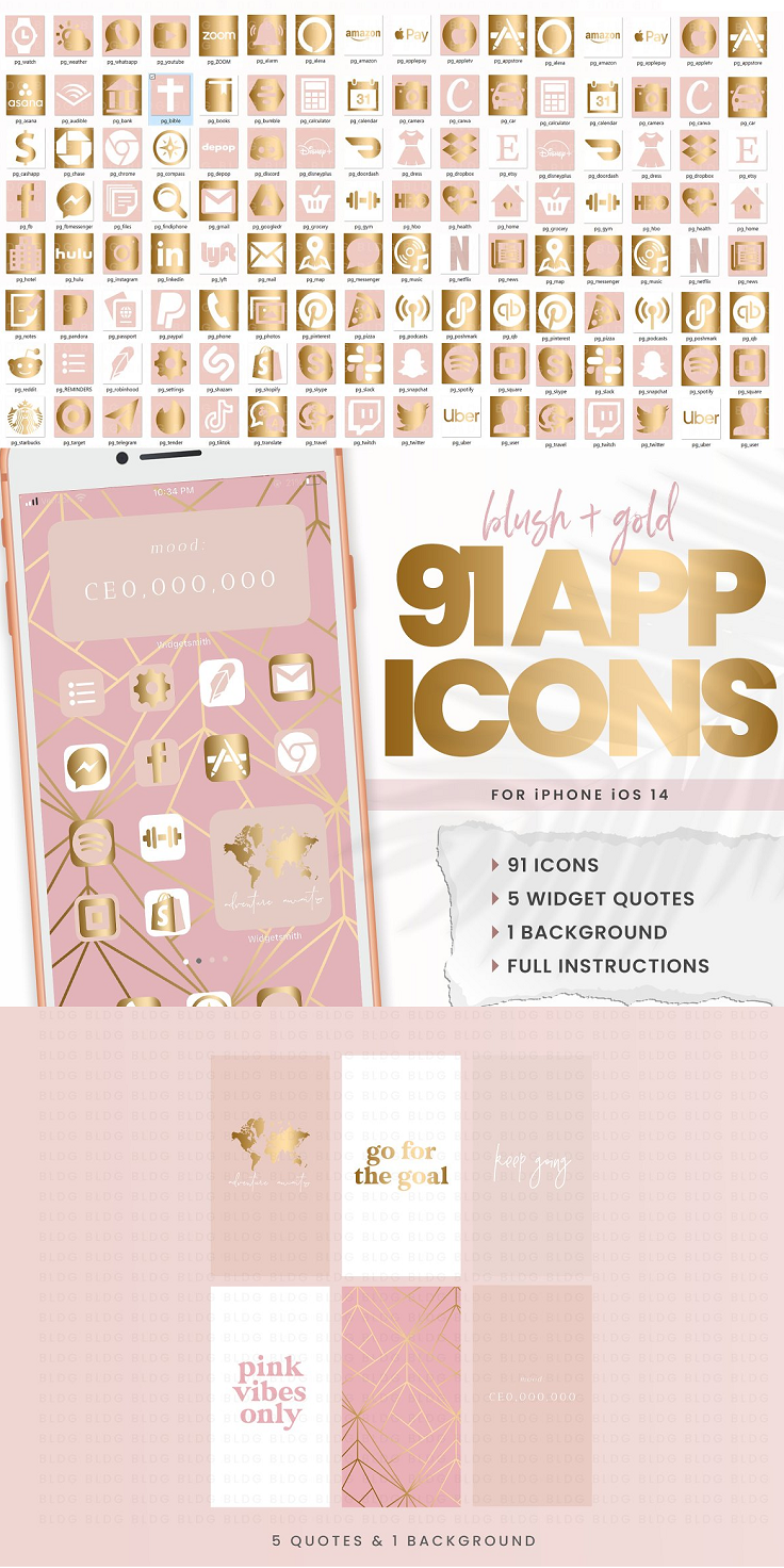 Pink & Gold iOS 14 App Icons Customize your iphone home screen with this set of 86 aesthetic app icons, 3 quotes, and 1 background. Full instructions included. You will need to download the apps SHORTCUTS to install the icons, and WIDGETSMITH for the quotes. THIS ORDER INCLUDES 91 iOS 14 app icons 5 widget quotes 1 background Detailed PDF instructions PLEASE NOTE Your phone must be updated to iOS 14 in order to use these You will need the apps SHORTCUTS and WIDGETSMITH to install All files are high resolution JPG This is a digital product only, no physical item will be shipped You will be able to download instantly after your order has processed
