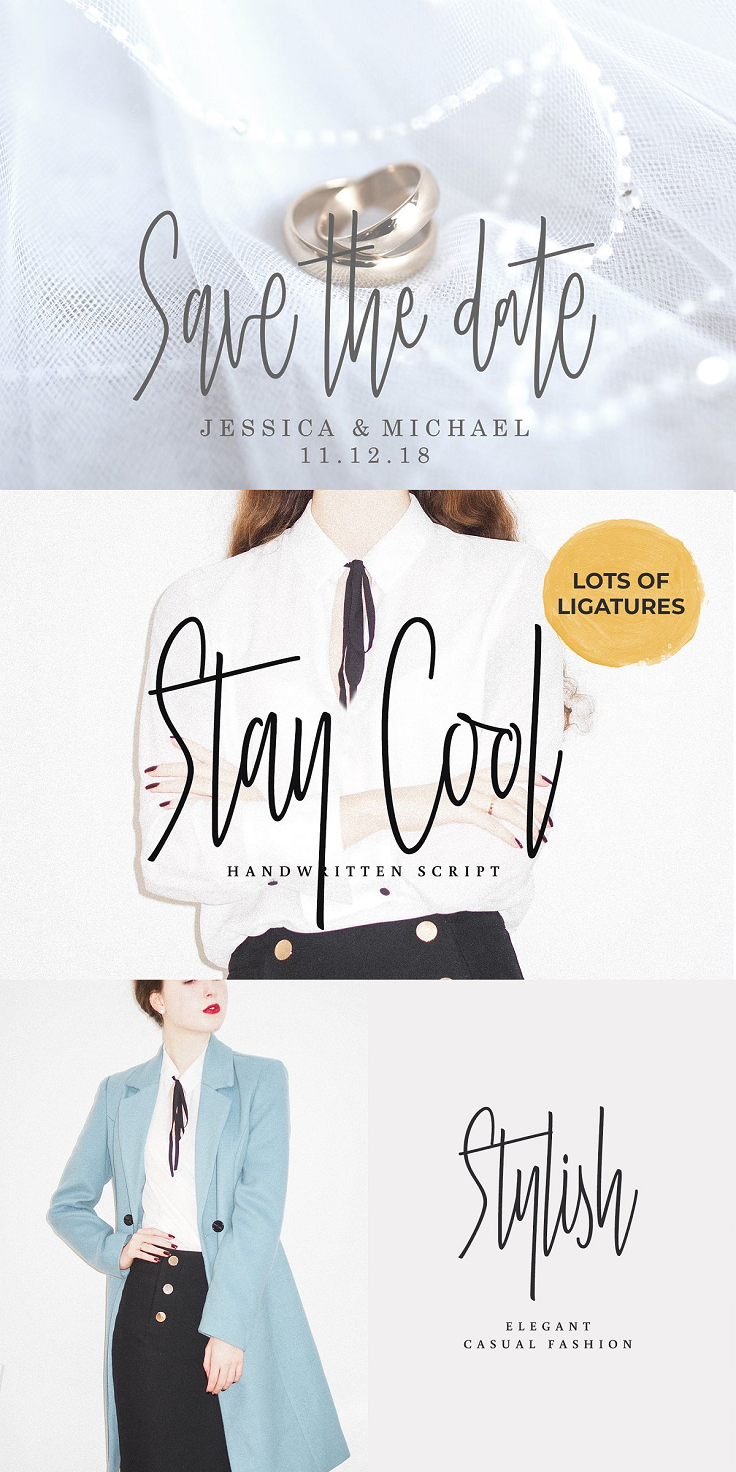 Introducing Stay Cool Script, a new fresh & modern script with a sweet calligraphy-style. So beautiful for logos, an invitation like greeting cards, branding materials, business cards, quotes, posters, and more! File includes: Stay Cool.otf Stay Cool.ttf Stay Cool. Web Font That's it! I really hope you enjoy it