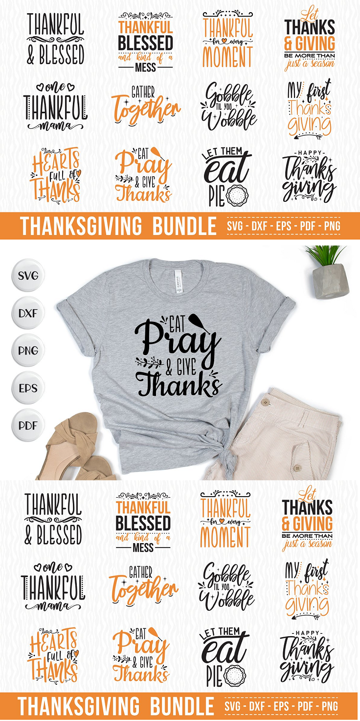 Thanksgiving SVG Bundle Vol.2, 12 Thanksgiving Quotes SVG These designs can be used for many purposes such as but not limited to: t shirt designs, sign making, card making, scrapbooking, vinyl decals and many more… These designs comes in the following formats: SVG DXF PNG (Transparent ) PDF EPS These files are compatible with all major cutting machines like Cricut, Silhouette Cameo, ScanNCut and other cutting machines.