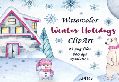 Watercolor Christmas Elements