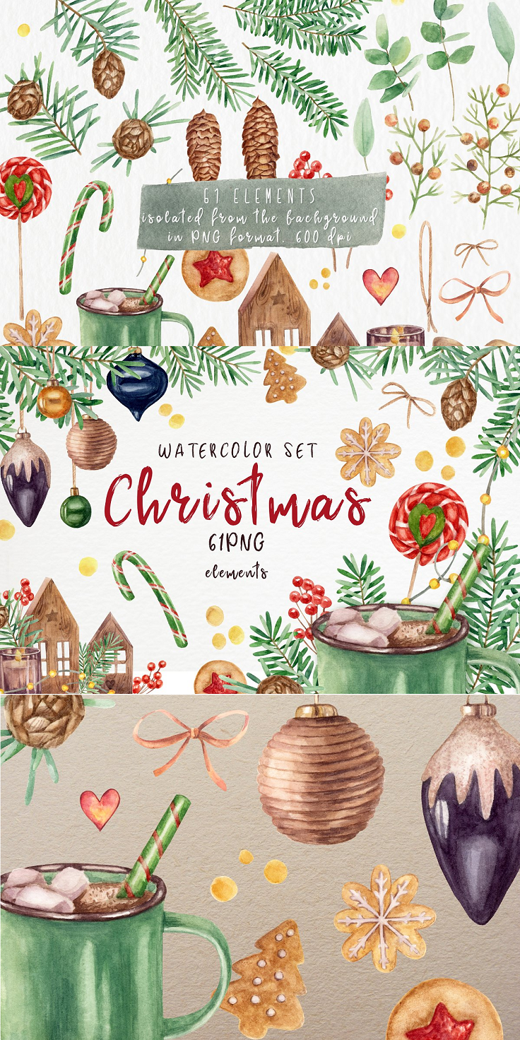 A set of watercolor Christmas-themed cliparts. Christmas toys, branches, cocoa mug, cookies, bows, cones and much more. The set consists of separate elements isolated from the background. I have prepared all the elements for you in a high resolution of 600 dpi. My watercolor illustration of you can use to scrapbooking, to create textiles, postcards, posters, backdrops, stickers, and much more. Zip archive consists of: 61 isolated elements in PNG format 600 dpi, layered PSD file 600 dpi