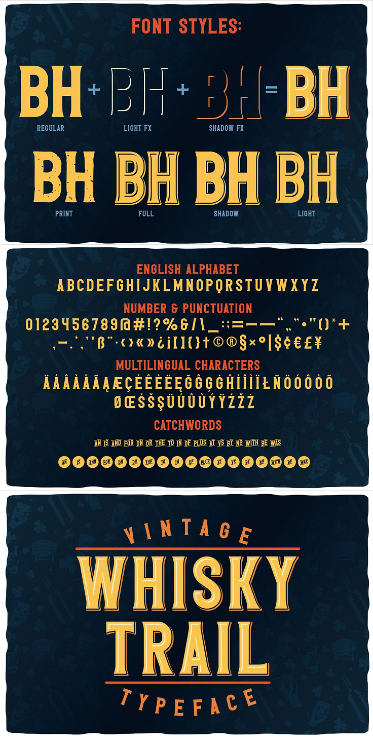 "Introducing a vintage look label font named ""Whisky Trail"". All available characters you can see at the screenshot. This font have 7 styles - Regular, Full, Shadow, Light, Shadow FX, Light FX and Print. This font will good viewed on any retro design like poster, t-shirt, label, logo etc. Features: A lot of additional characters and multilingual support OTF, TTF, WOFF and WOFF2 font files. Ready ten t-shirt designs in EPS10, hires JPG and PNG (with transparent background). Editable AI CC and EPS CC files for all designs. Link to additional font included. Isolated illustrations from screenshots on white background in EPS10, hires JPG and PNG (with transparent background). PSD 3d mockup of Whiskey Bottle. High resolution 6000*4000 px. For using effect layer: Type your text in Regular. Copy that and paste at the same position. Change the style to Light FX or Shadow FX. After that you can choose different colors for Regular font and Shadow or Light effects."