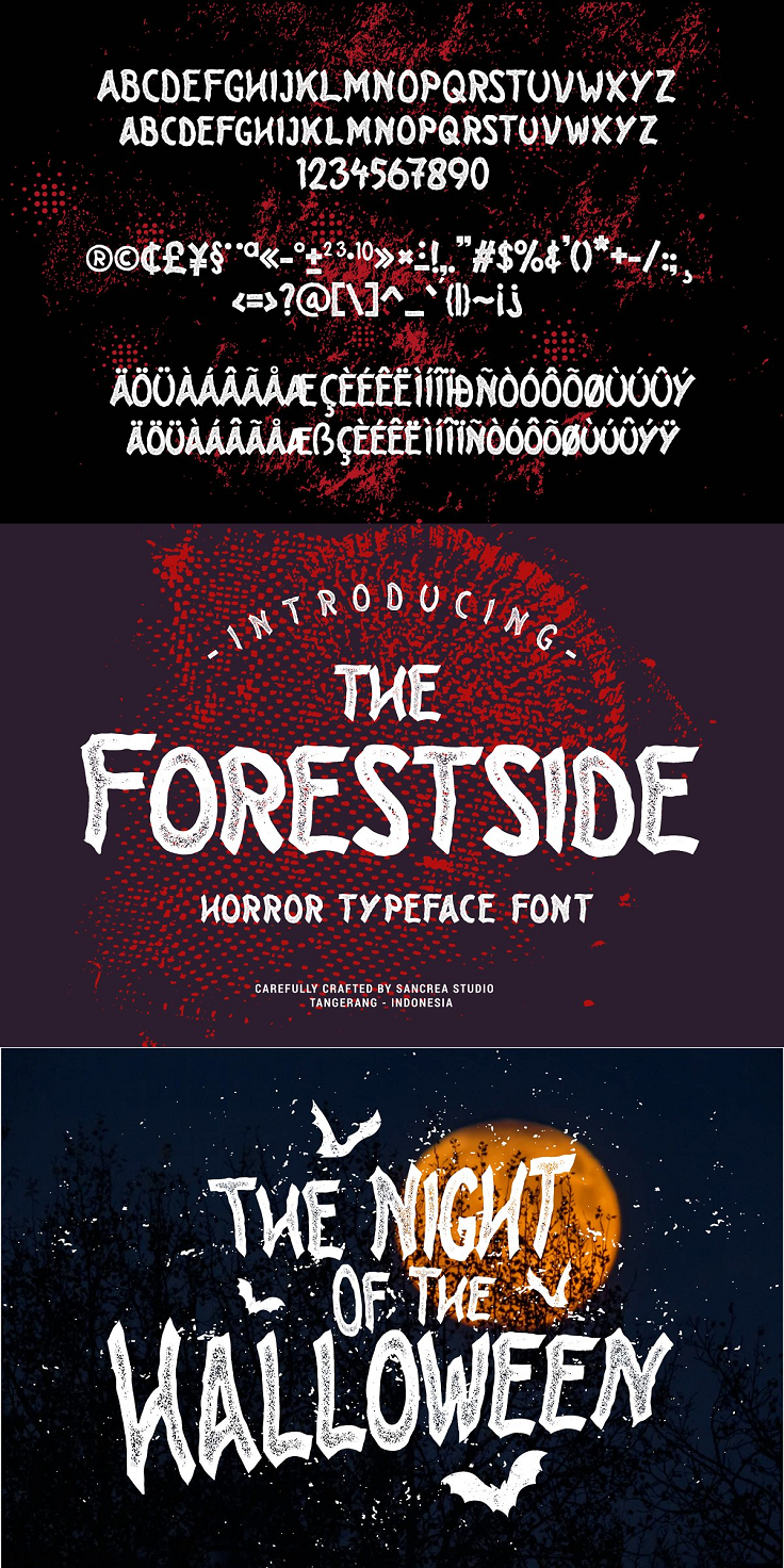 About the Product Introducing new all caps display font that perfect for creating Halloween, Horror, Thriller theme projects. Inspired by classic Horror and Thriller movie posters. You can make a logo, quotes, poster, flyer, apparel, greeting cards, invitations using this font. Let's bring back vintage Horror vibes into your designs. Features: All Caps Characters Numerals, Punctuation, and Special Characters Multilingual Support Hope you enjoy with our font
