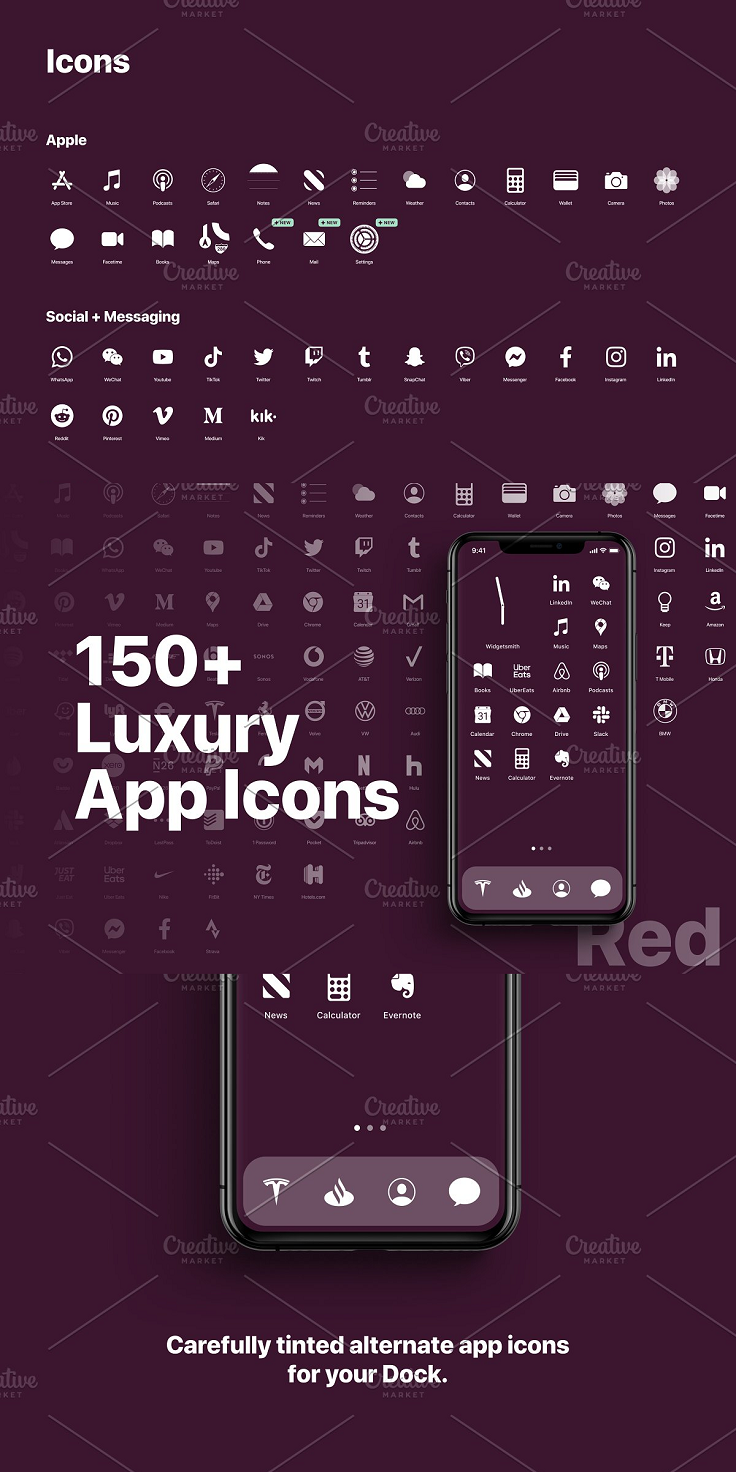 Designed by industry professionals, over 150 beautiful midnight app icons and wallpaper have been created for your iPhone running iOS 14. Unlike any other pack we also include carefully tinted versions of every app icon so they look perfect in your iPhone Dock. Designed to Apple's own hi-res standard of 1024px X 1024px. No need to resize or crop, they all work perfectly straight away.