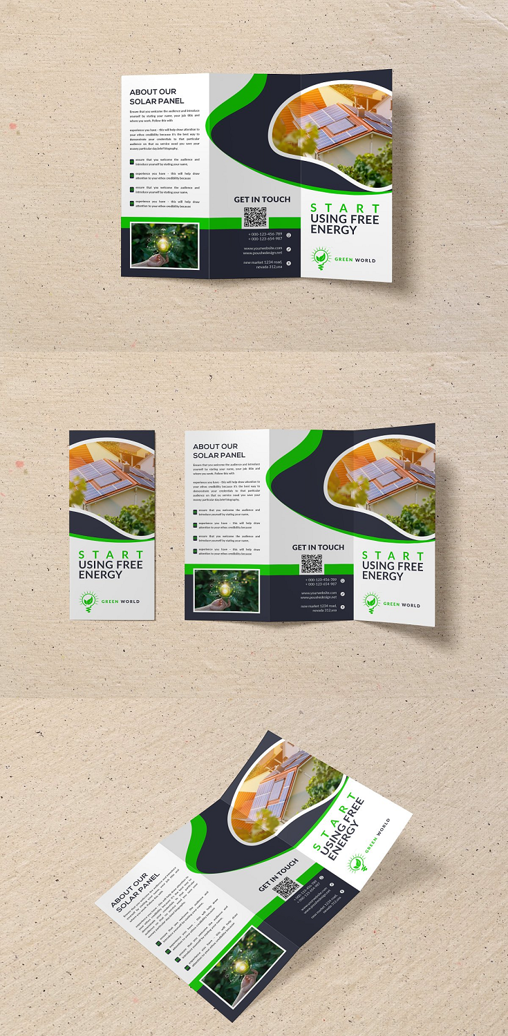 Brochure – Solar Energy Tri-Fold = Photoshop Psd file = 300 DPI CMYK Colour = Size 11×8.5 Print Ready Format = 100% Layered and Full Editable = Smart Object Image Change = Help Guide Included Font Used Free Font