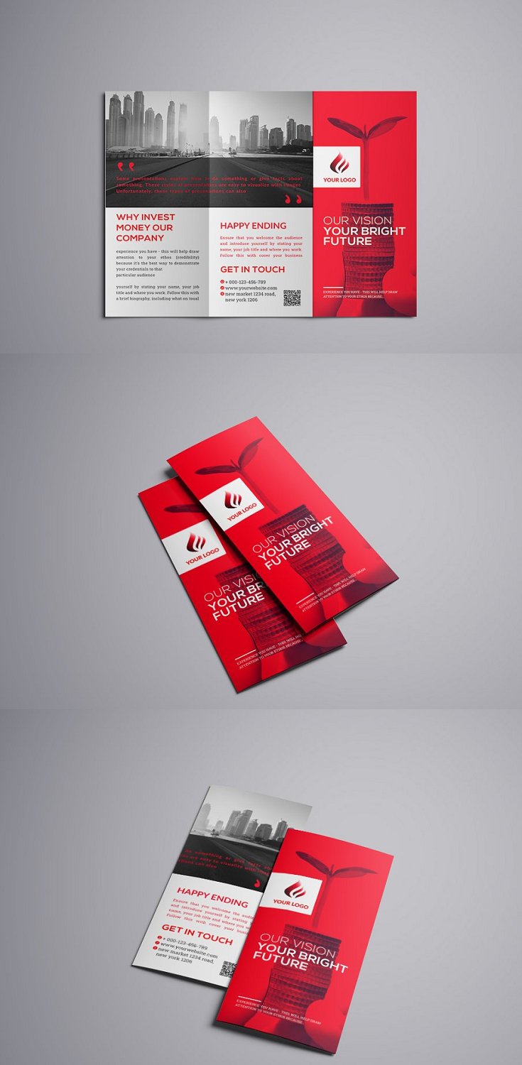 Corporate Business Trifold Brochure = Photoshop Psd file = 300 DPI CMYK Colour = Size 11×8.5 Print Ready Format = 100% Layered and Full Editable = Smart Object Image Change = Help Guide Included = Font Used Free Font